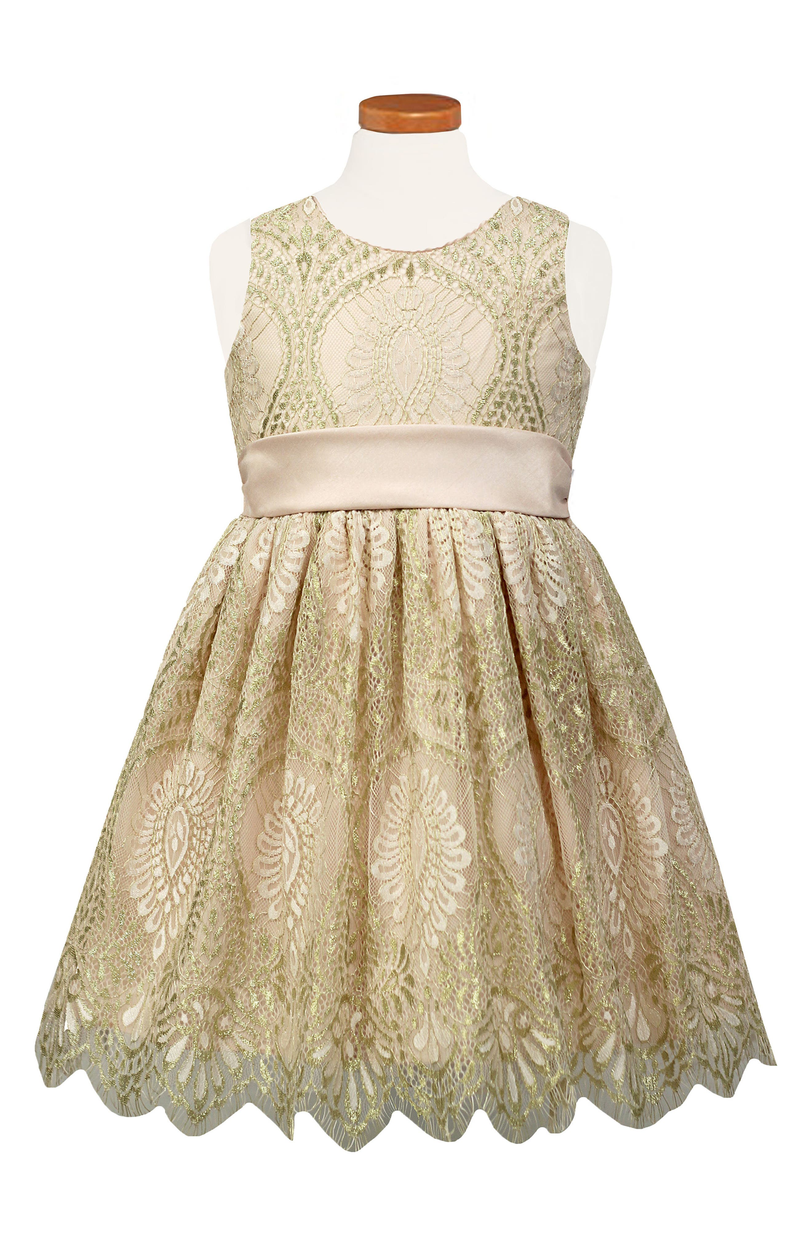Lace Fit & Flare Dress,                         Main,                         color, Pink