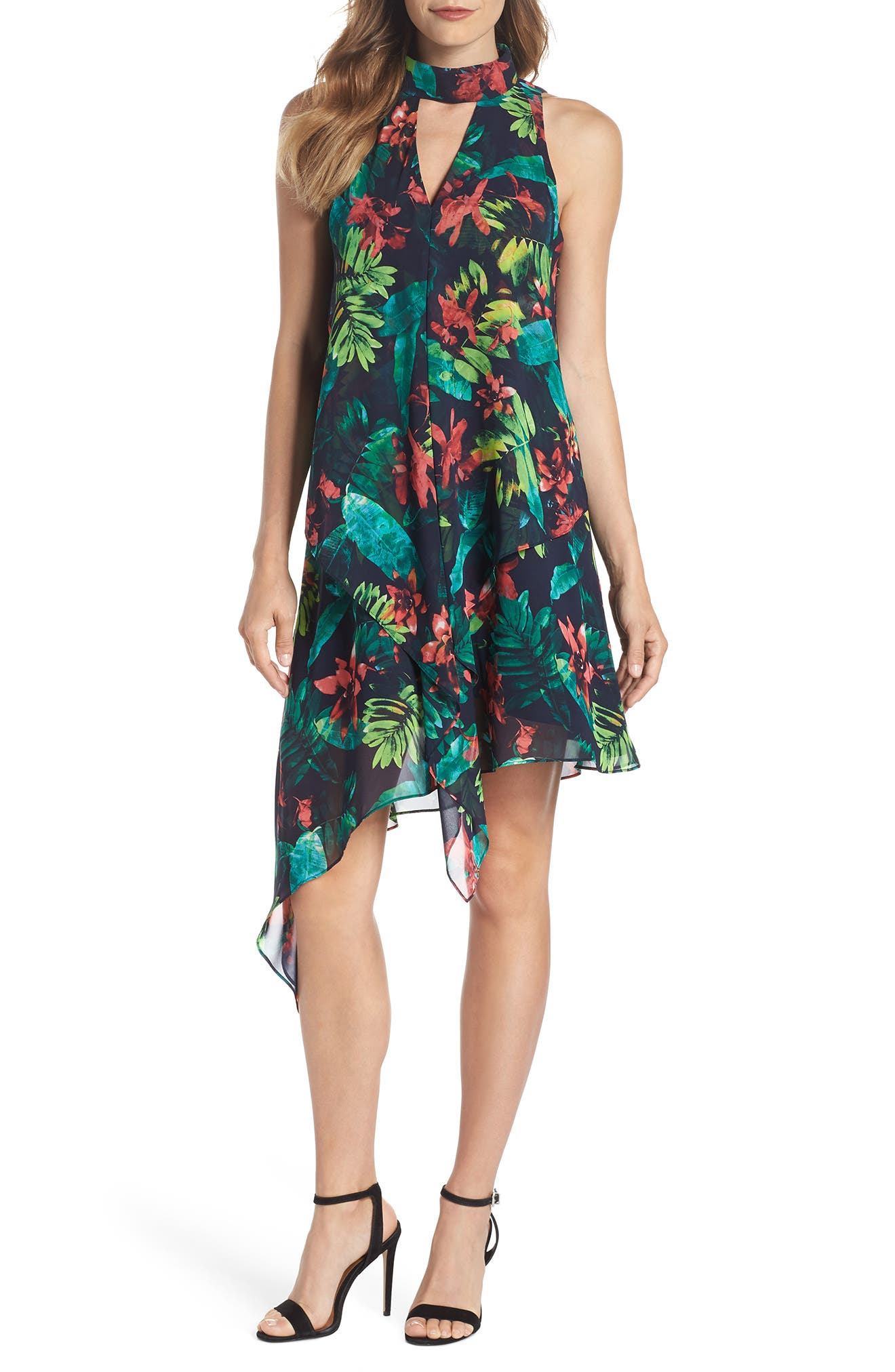 PRINT ASYMMETRIC SWING DRESS