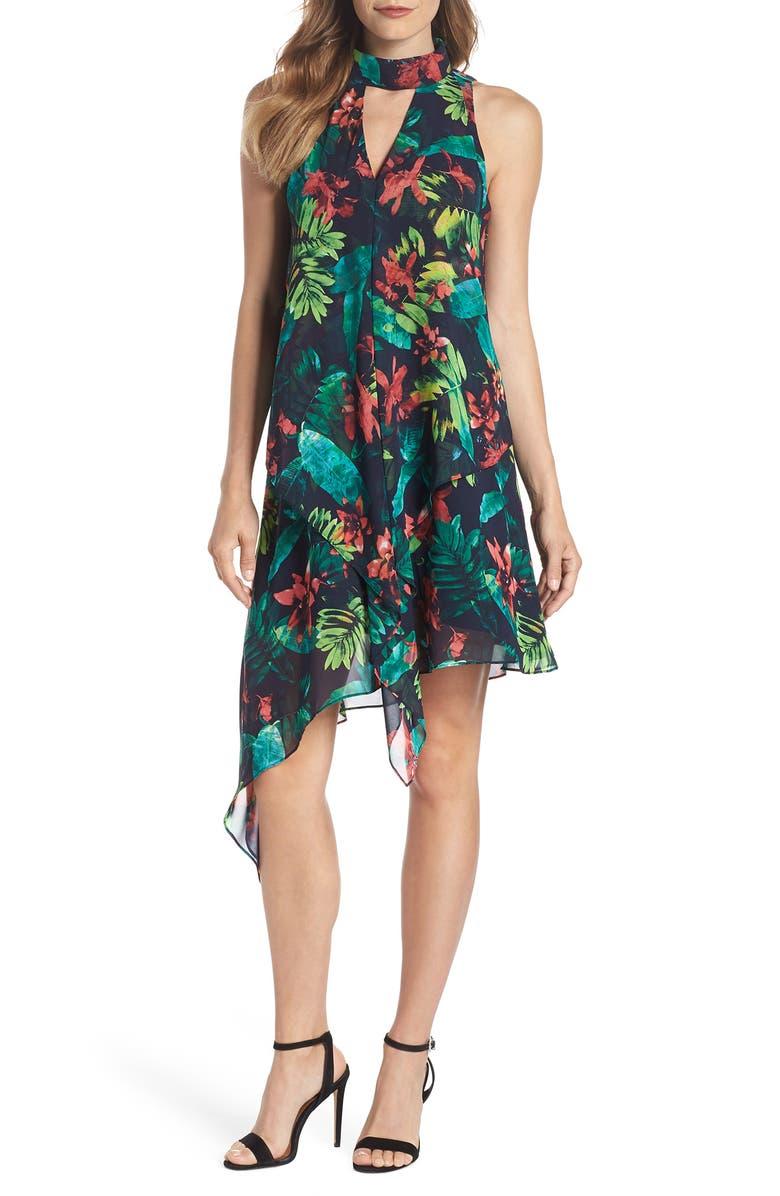 Print Asymmetric Swing Dress