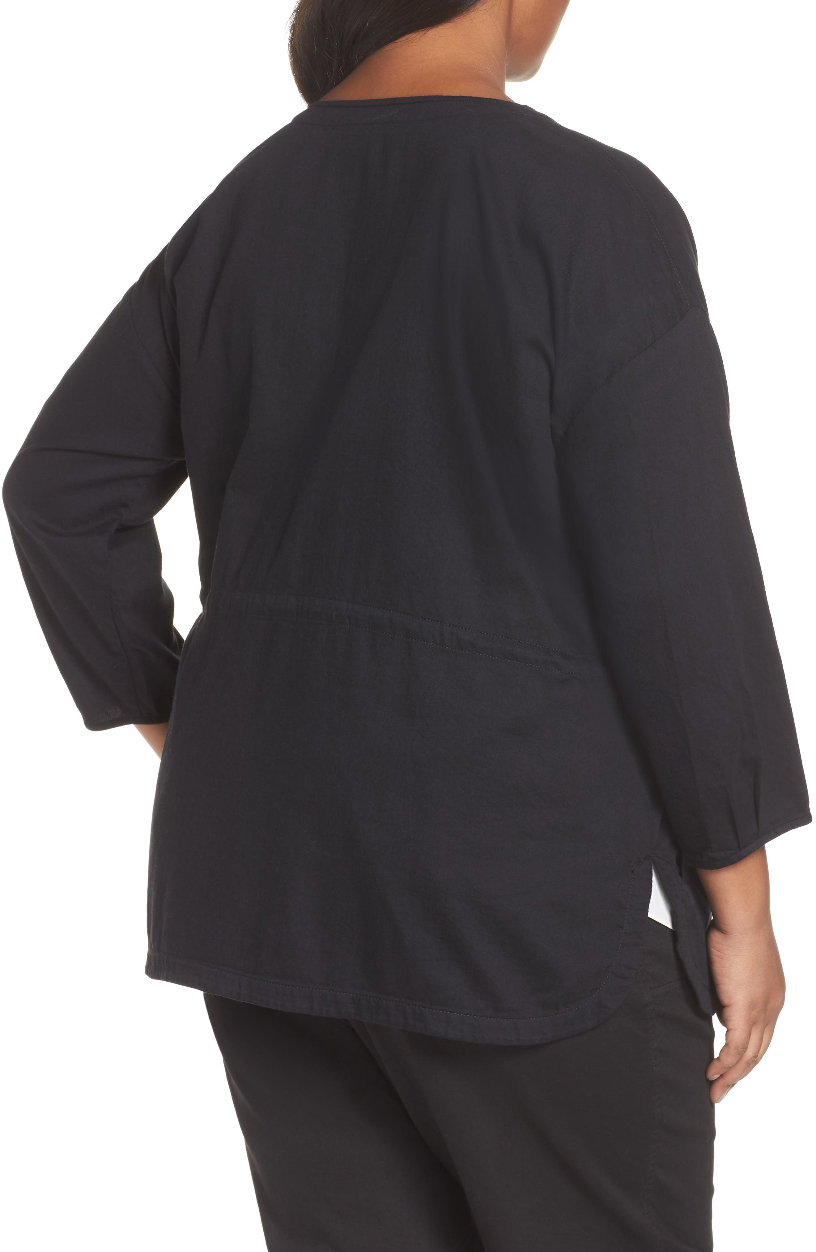Shirttail Hem Organic Cotton Jacket,                             Alternate thumbnail 2, color,                             Black