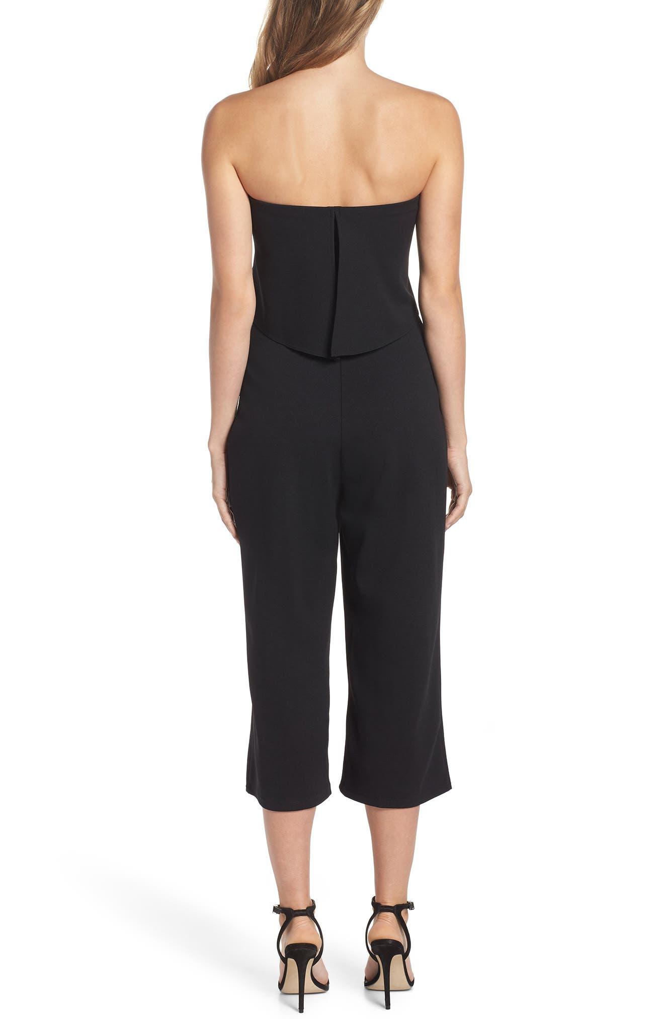Strapless Culotte Jumpsuit,                             Alternate thumbnail 2, color,                             Black