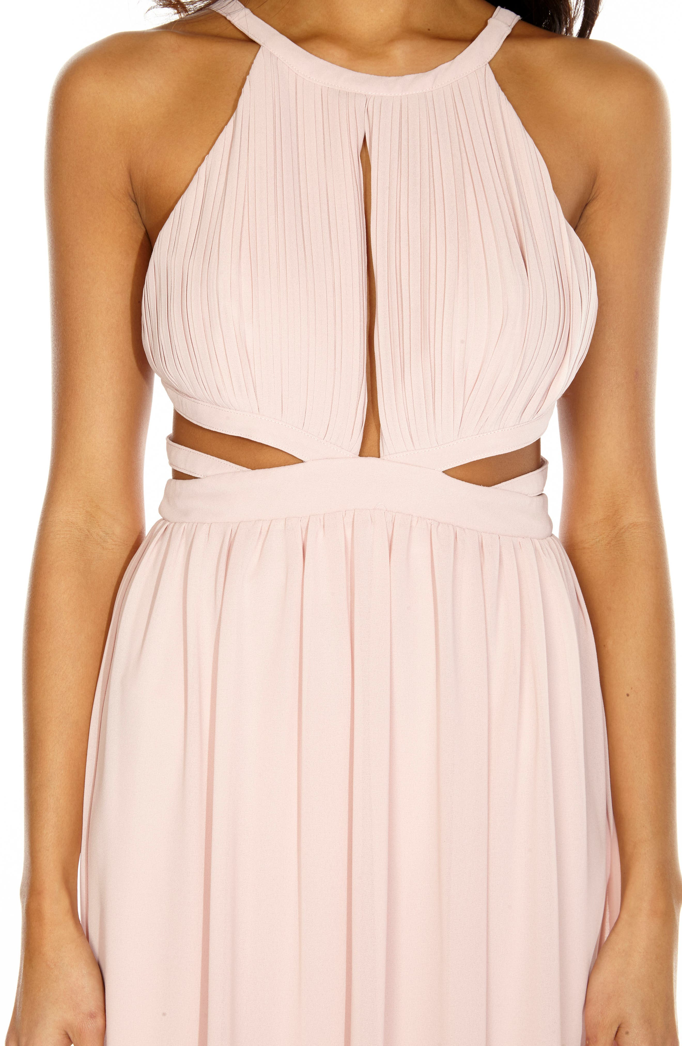 Evanthe Cutout Chiffon Gown,                             Alternate thumbnail 4, color,                             Pearl Pink