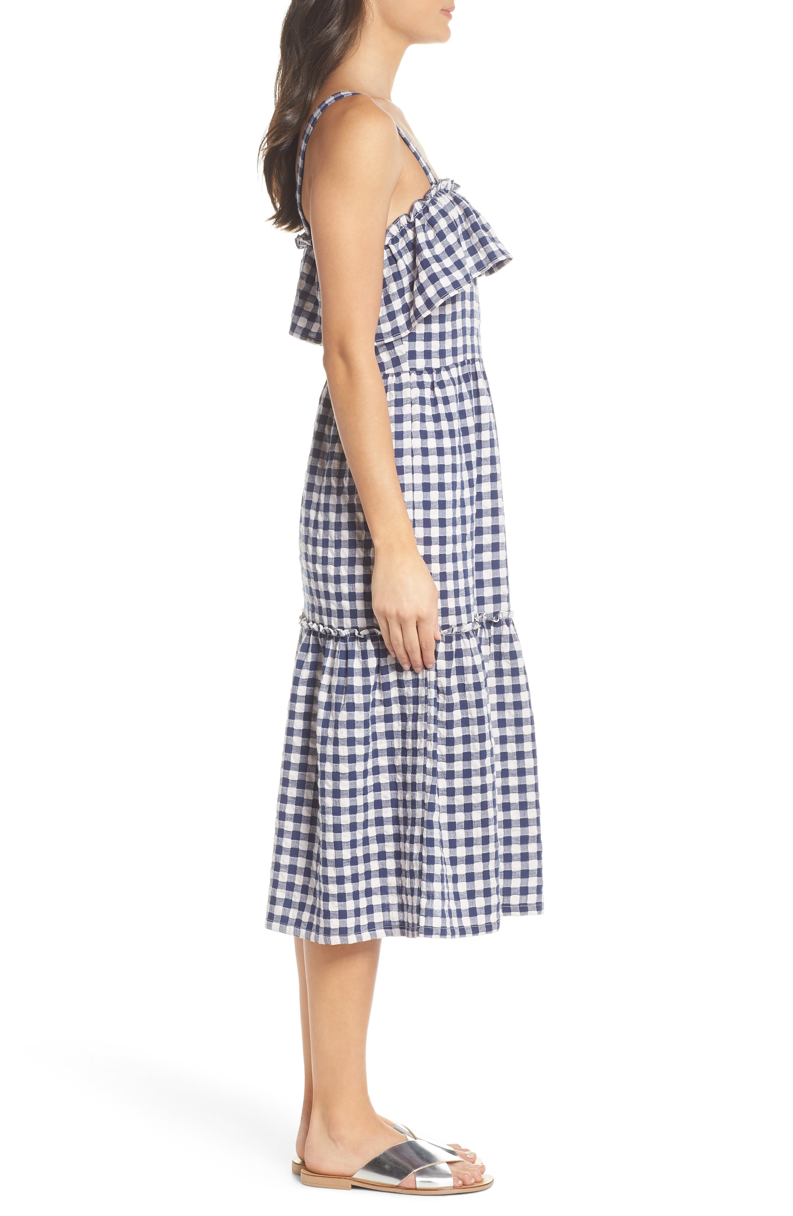 Tiered Gingham Midi Dress,                             Alternate thumbnail 3, color,                             Navy