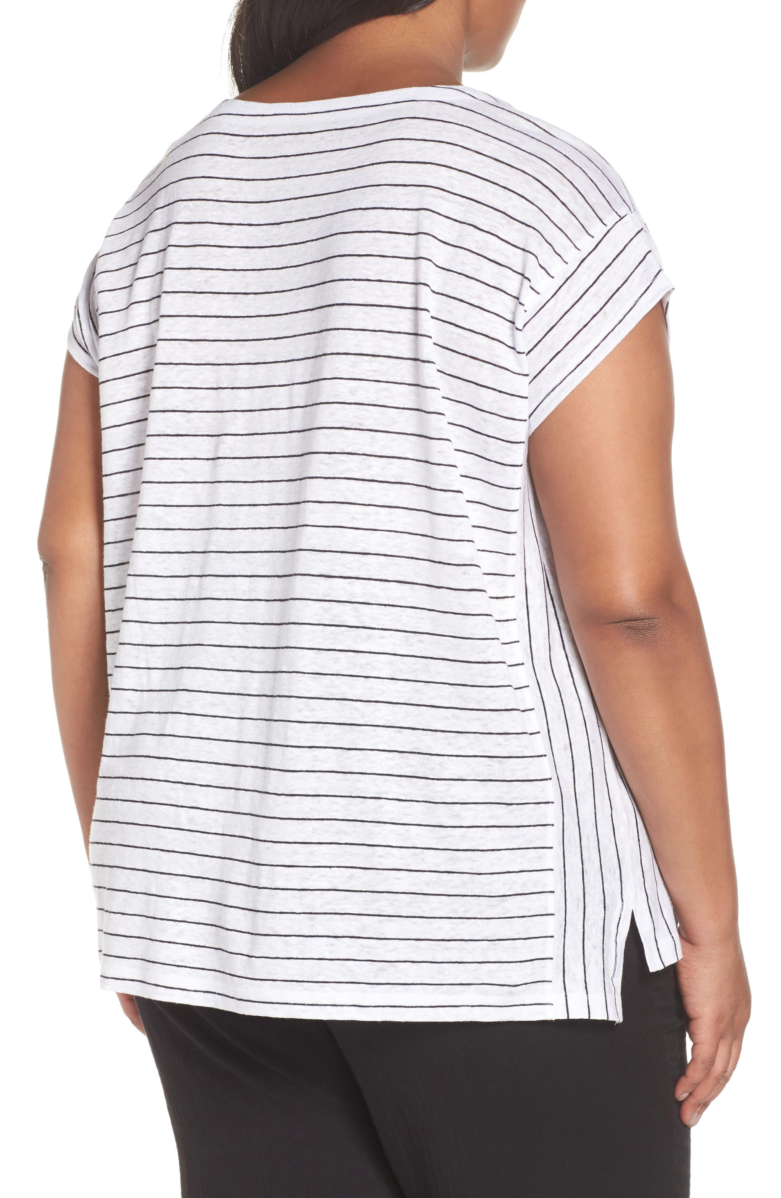 Bateau Neck Stripe Linen Top,                             Alternate thumbnail 2, color,                             White/ Black