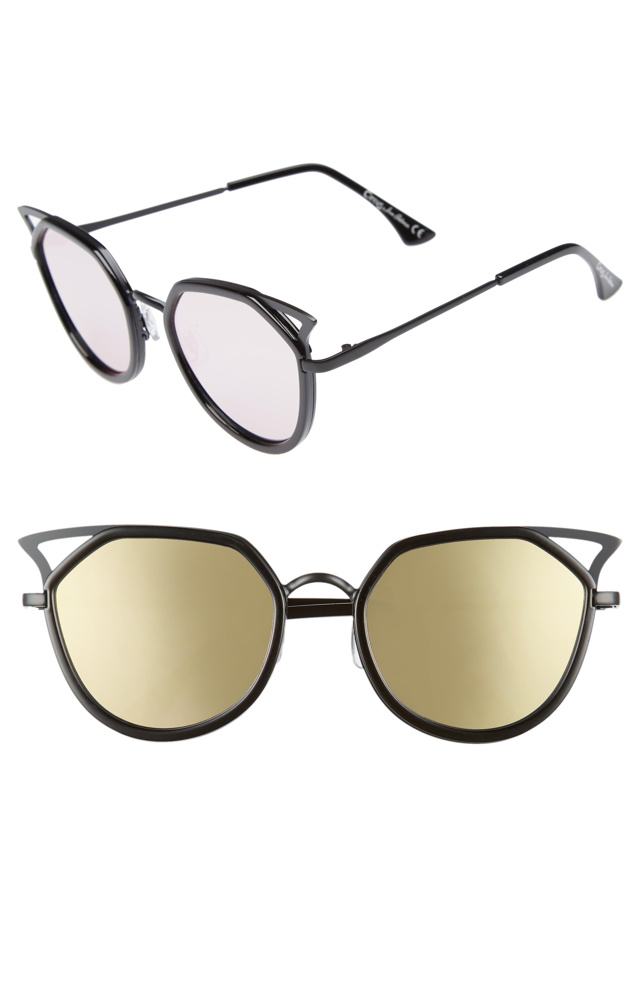 Satellite 60mm Cat Eye Sunglasses,                         Main,                         color, Black