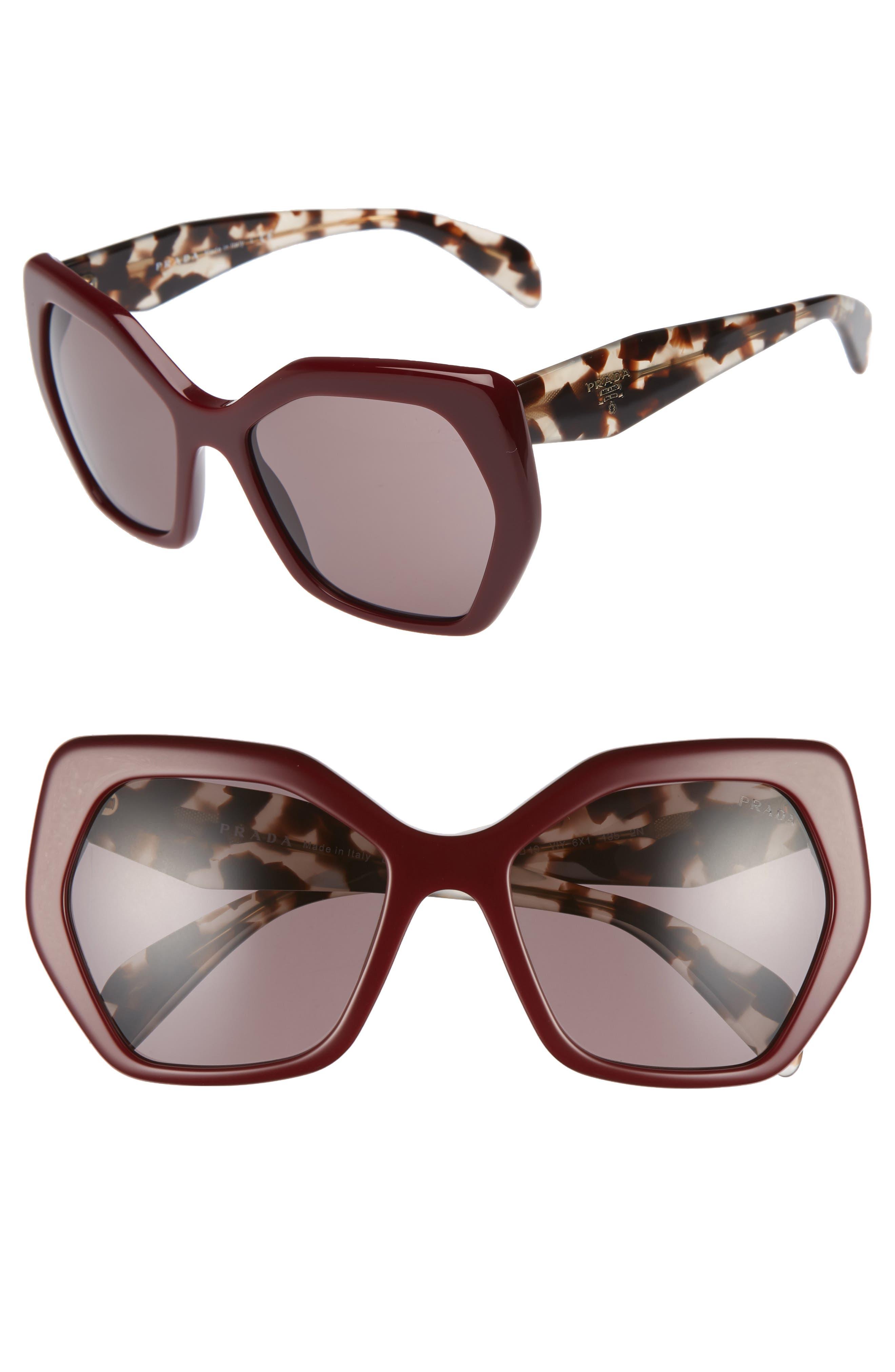 Heritage 56mm Sunglasses,                             Main thumbnail 1, color,                             Maroon