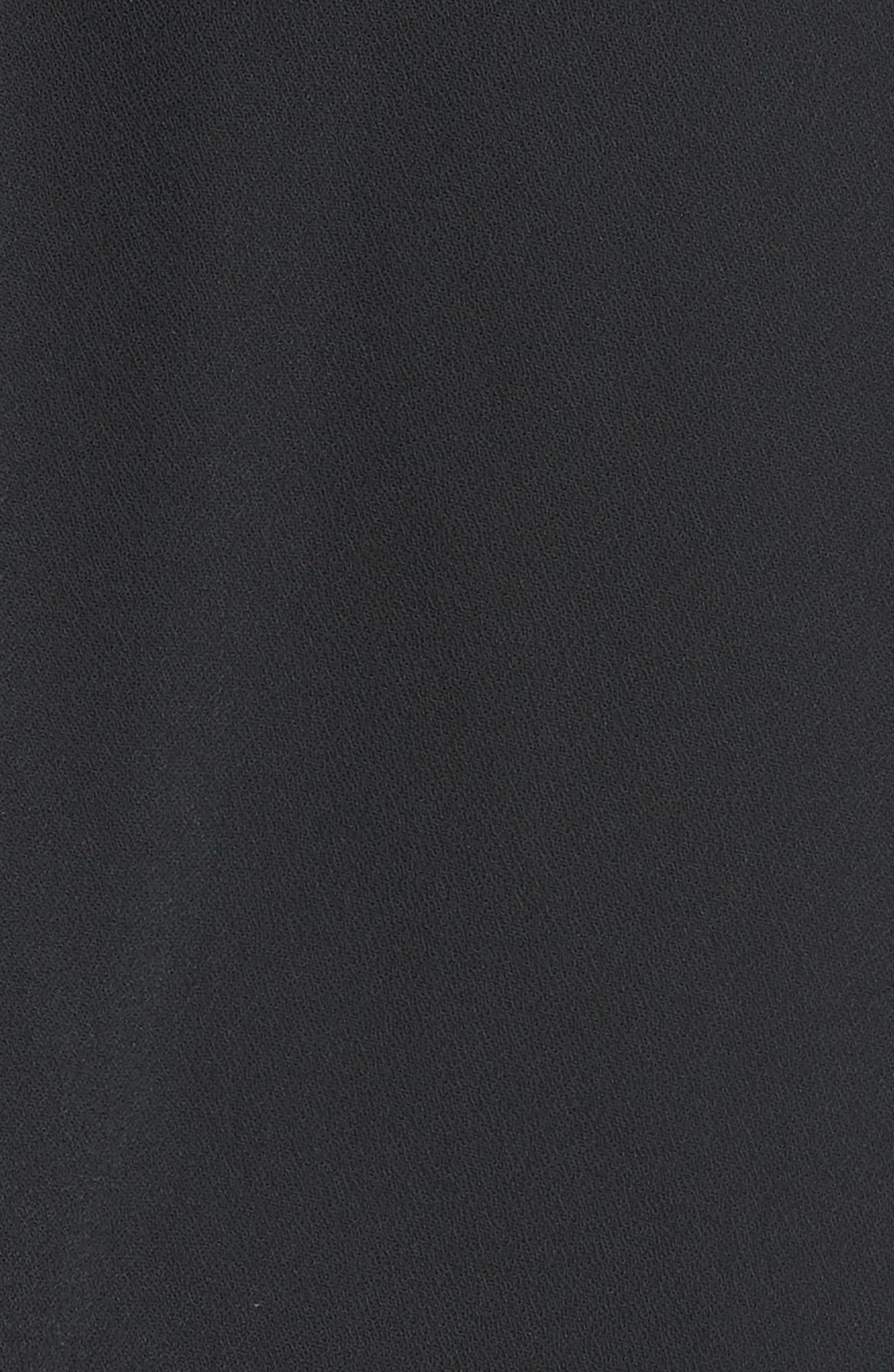 Structured Lace Cold Shoulder Midi Dress,                             Alternate thumbnail 5, color,                             Black
