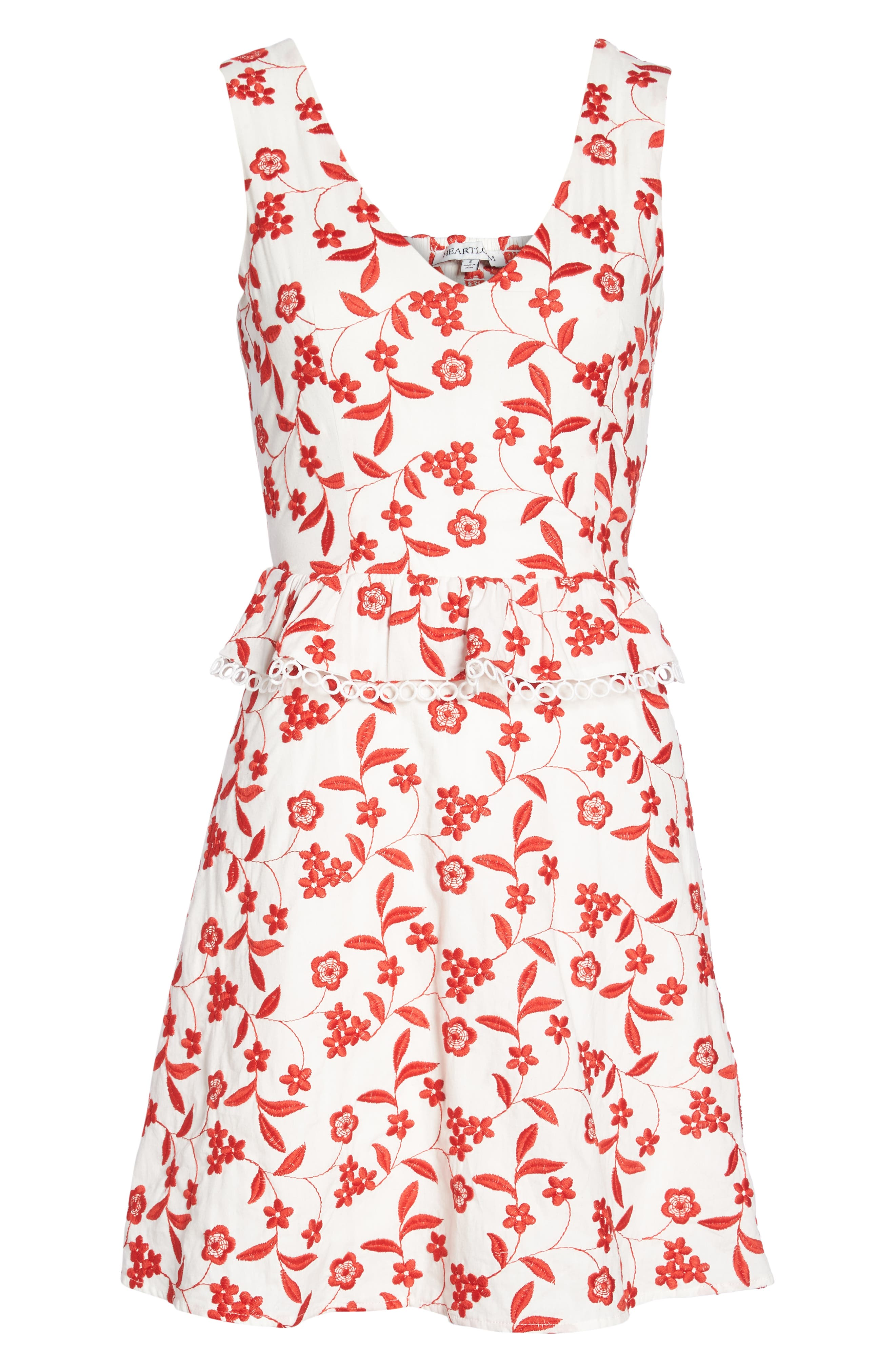 Aubrey Embroidered Cotton Dress,                             Alternate thumbnail 7, color,                             Flame