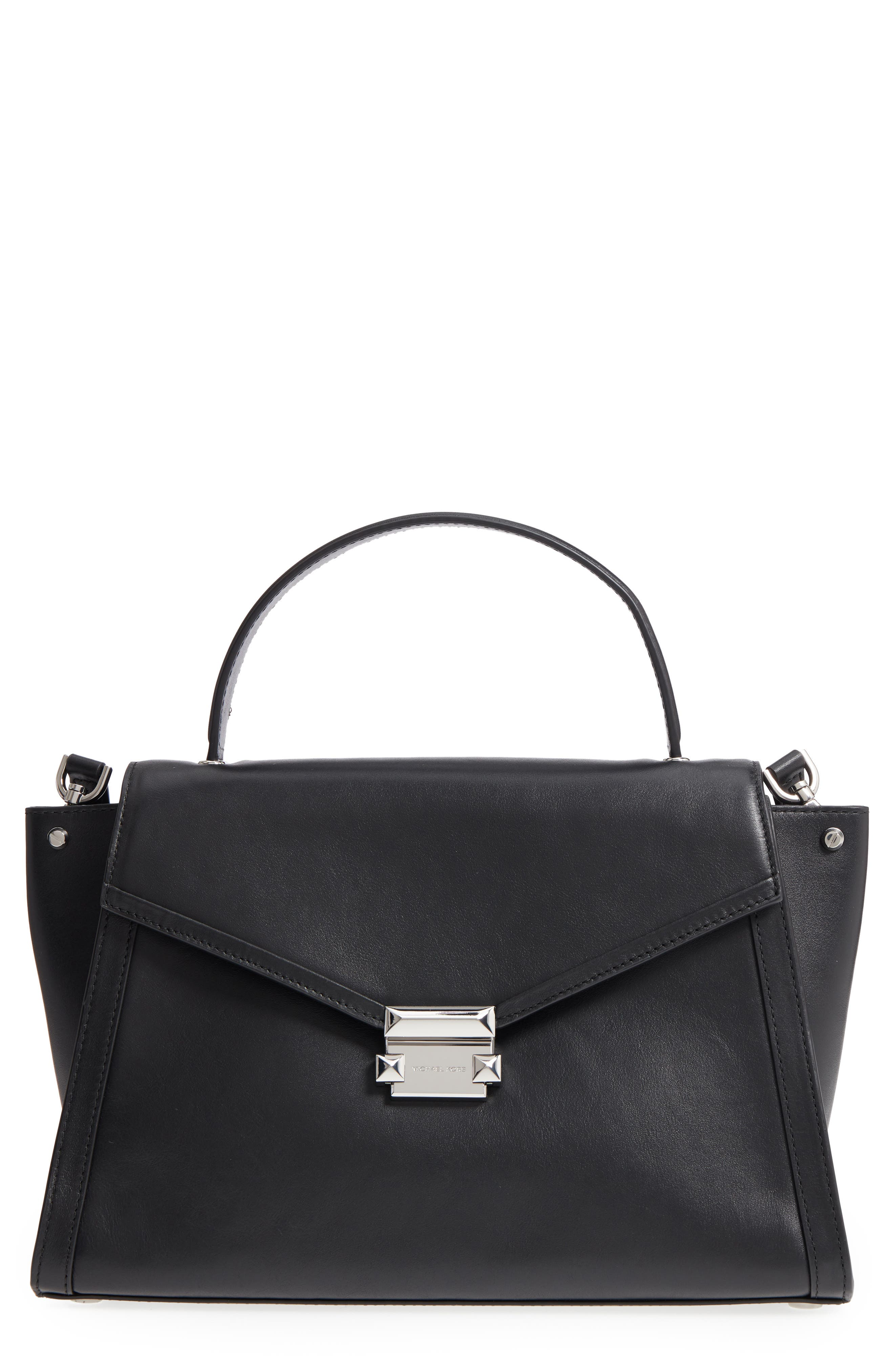 Large Whitney Leather Satchel,                         Main,                         color, Black