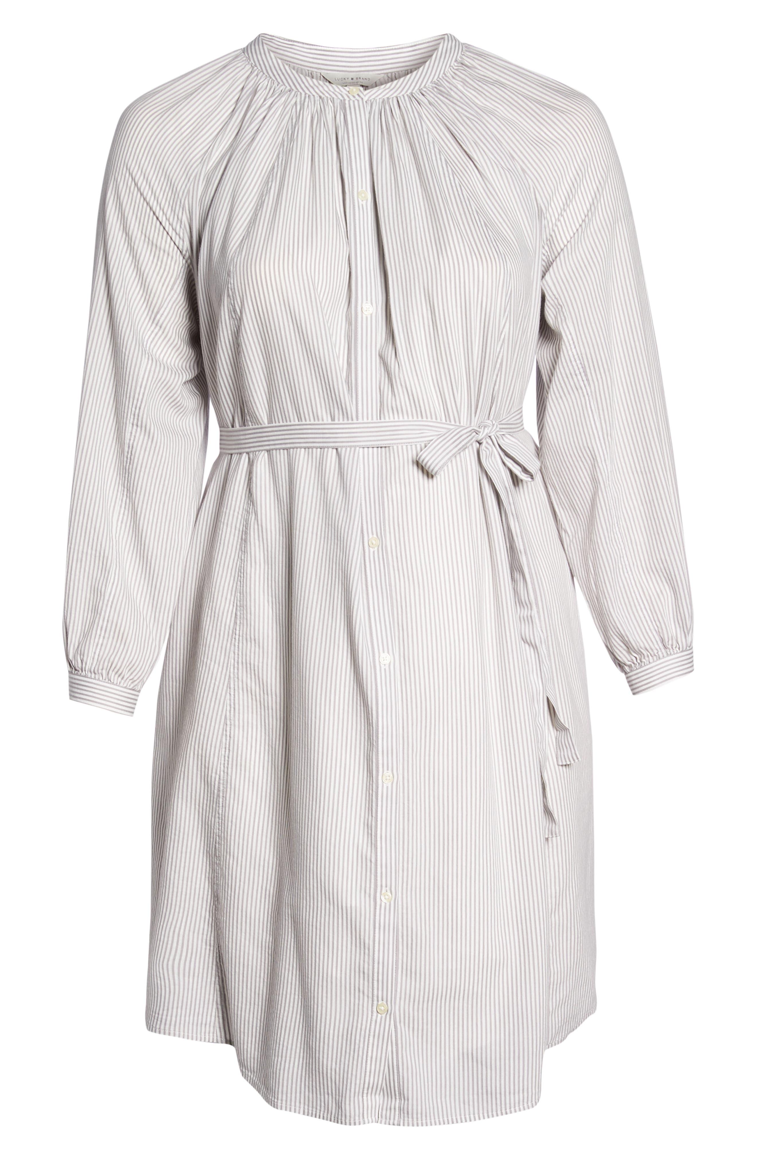 Stripe Peasant Dress,                             Alternate thumbnail 7, color,                             Grey Multi