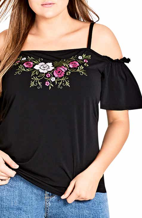 15e24d80ff429 City Chic Embroidered Flower Cold Shoulder Top (Plus Size)