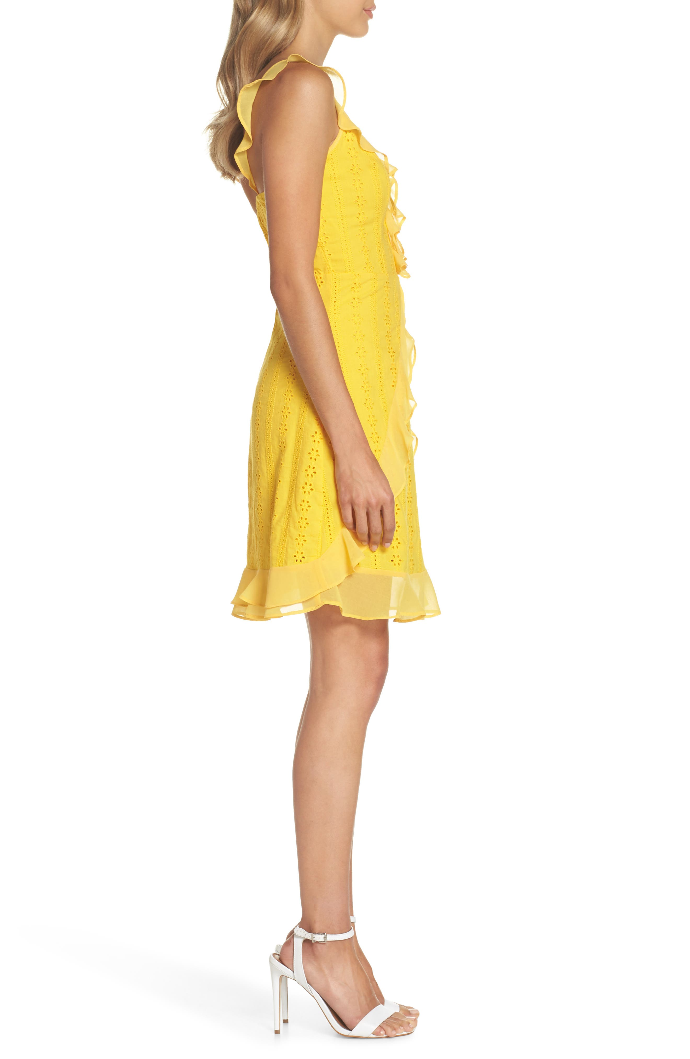 Jessa Ruffle Eyelet Fit & Flare Dress,                             Alternate thumbnail 3, color,                             Lemonade