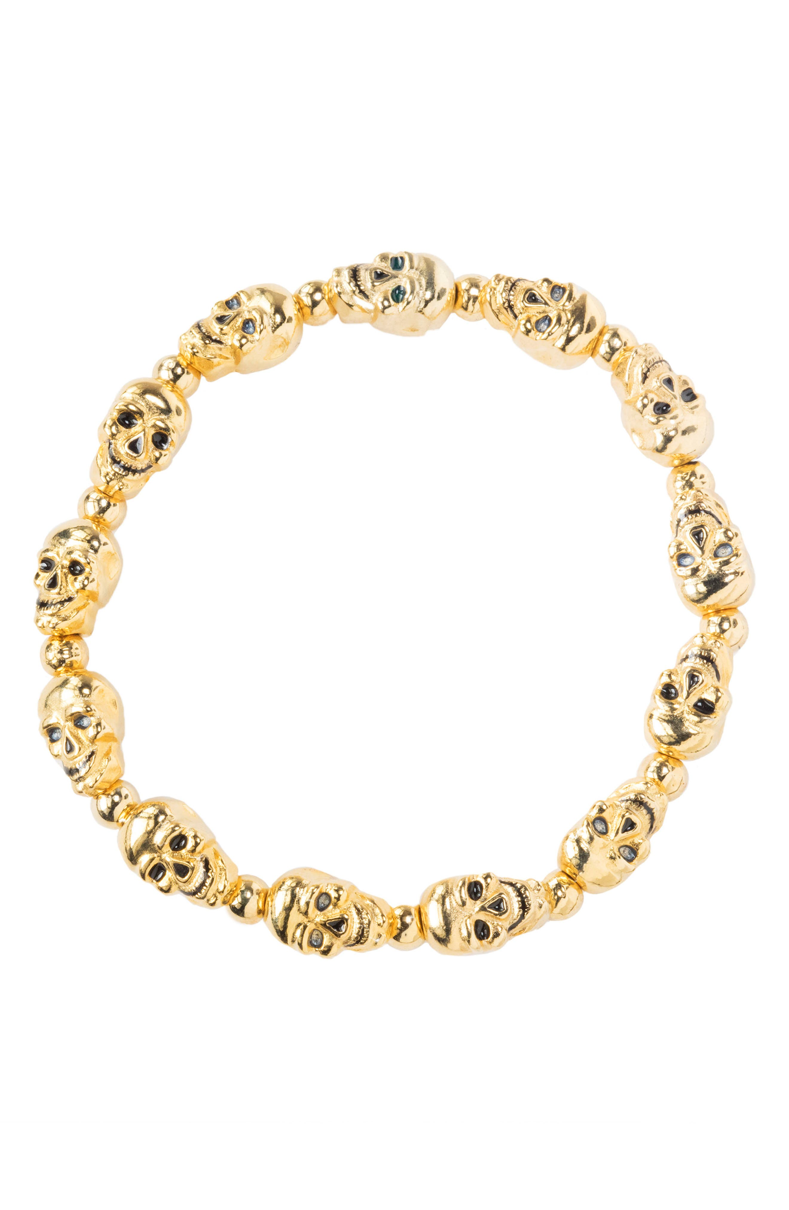 Lucky Skulls Stretch Bracelet,                             Alternate thumbnail 2, color,                             Gold