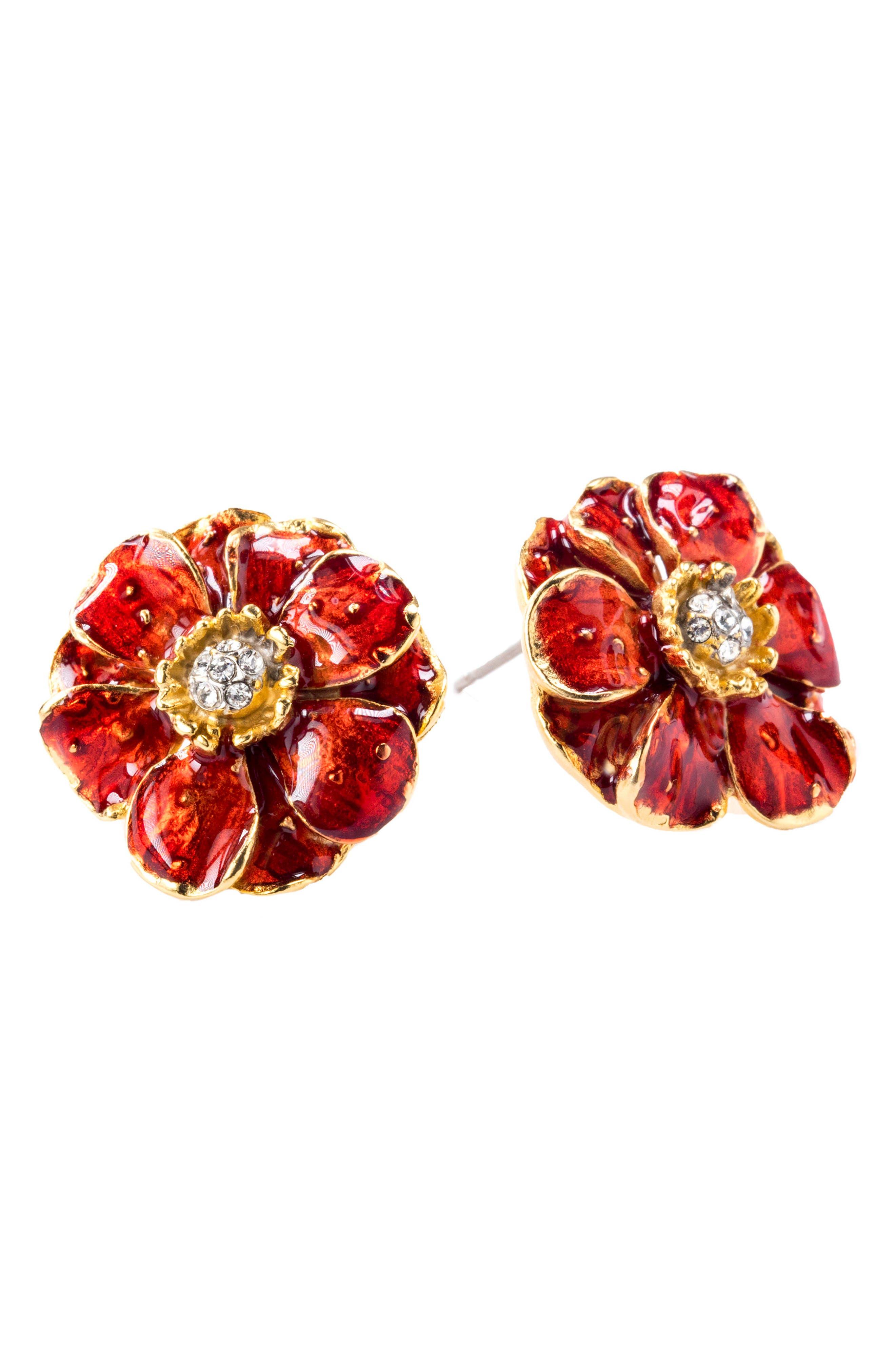 Goldtone Les Roses Earrings,                             Alternate thumbnail 3, color,                             Multi