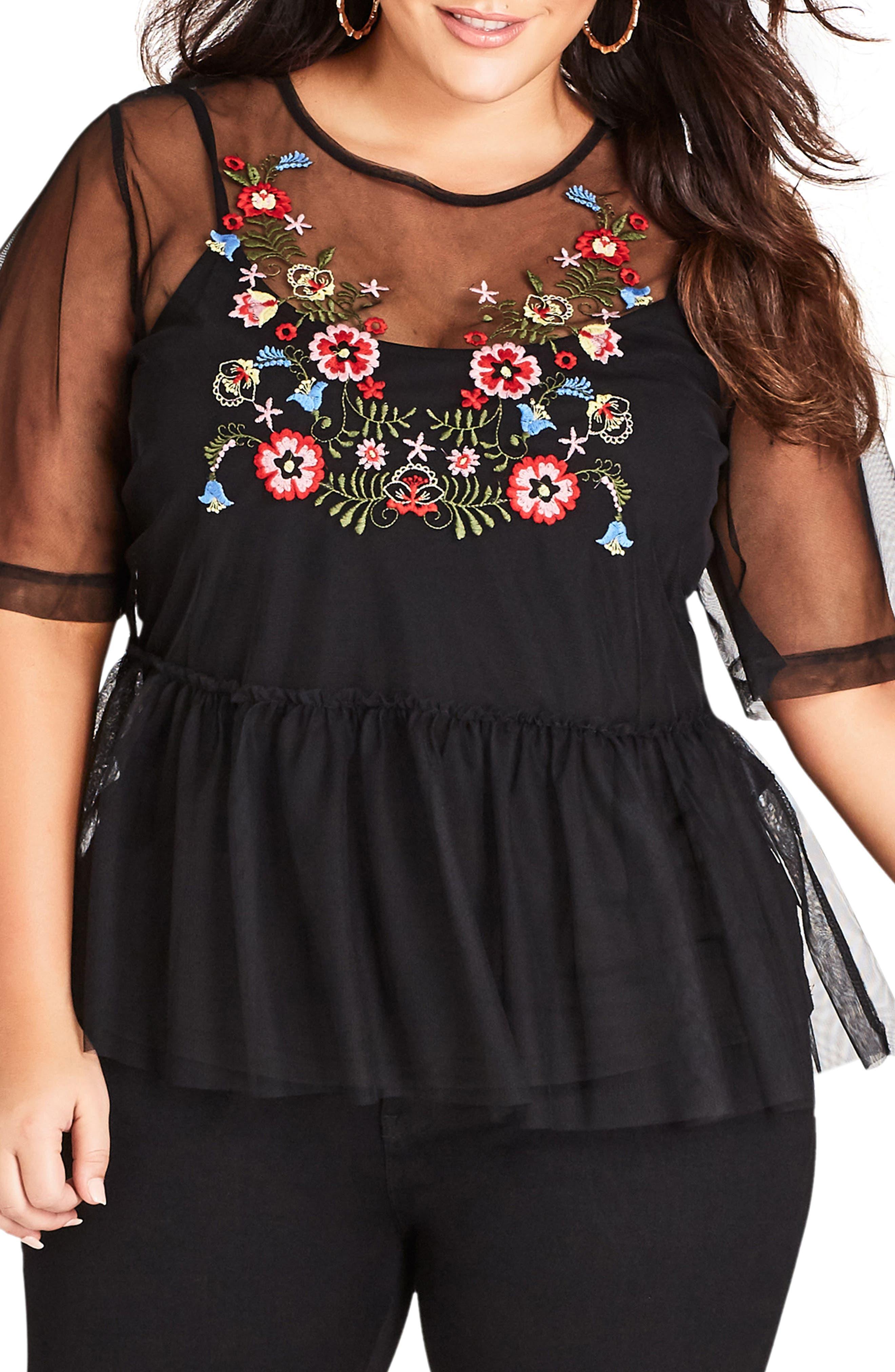 Mesh Love Peplum Top,                         Main,                         color, Black