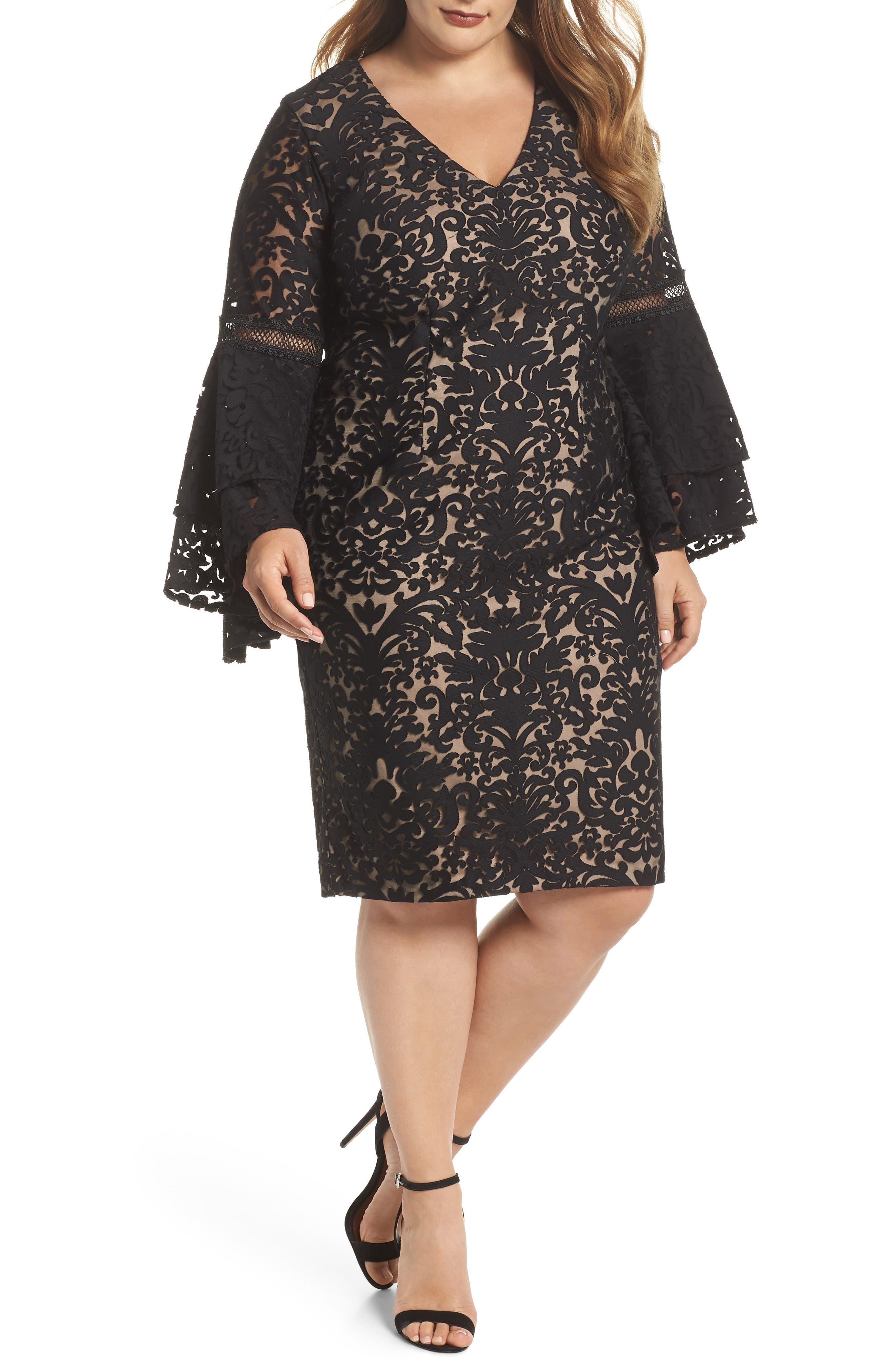 Xscape Bell Sleeve Burnout Mesh Sheath Dress (Plus Size)