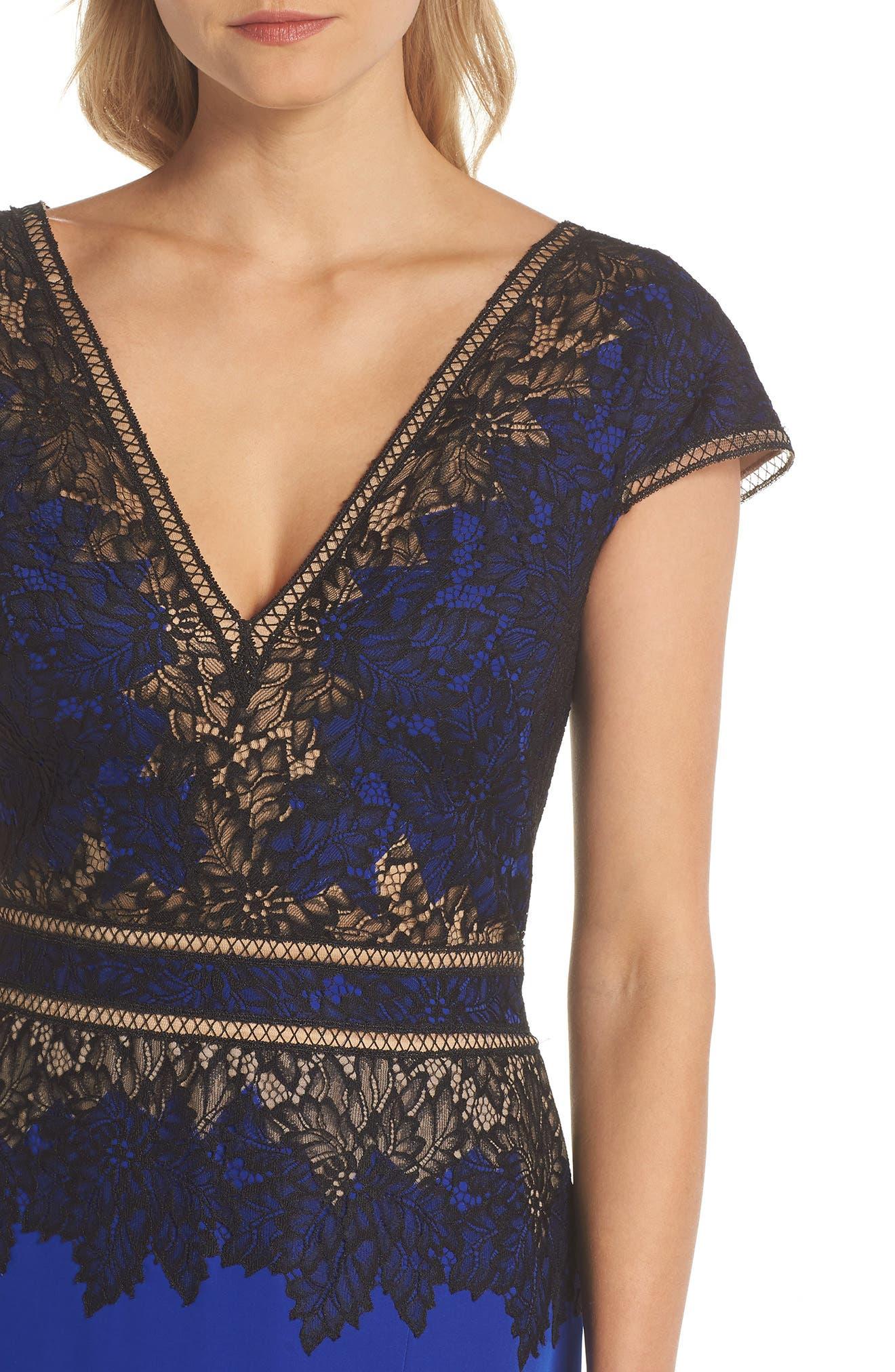 Violette Lace & Crepe Gown,                             Alternate thumbnail 4, color,                             Black Lake