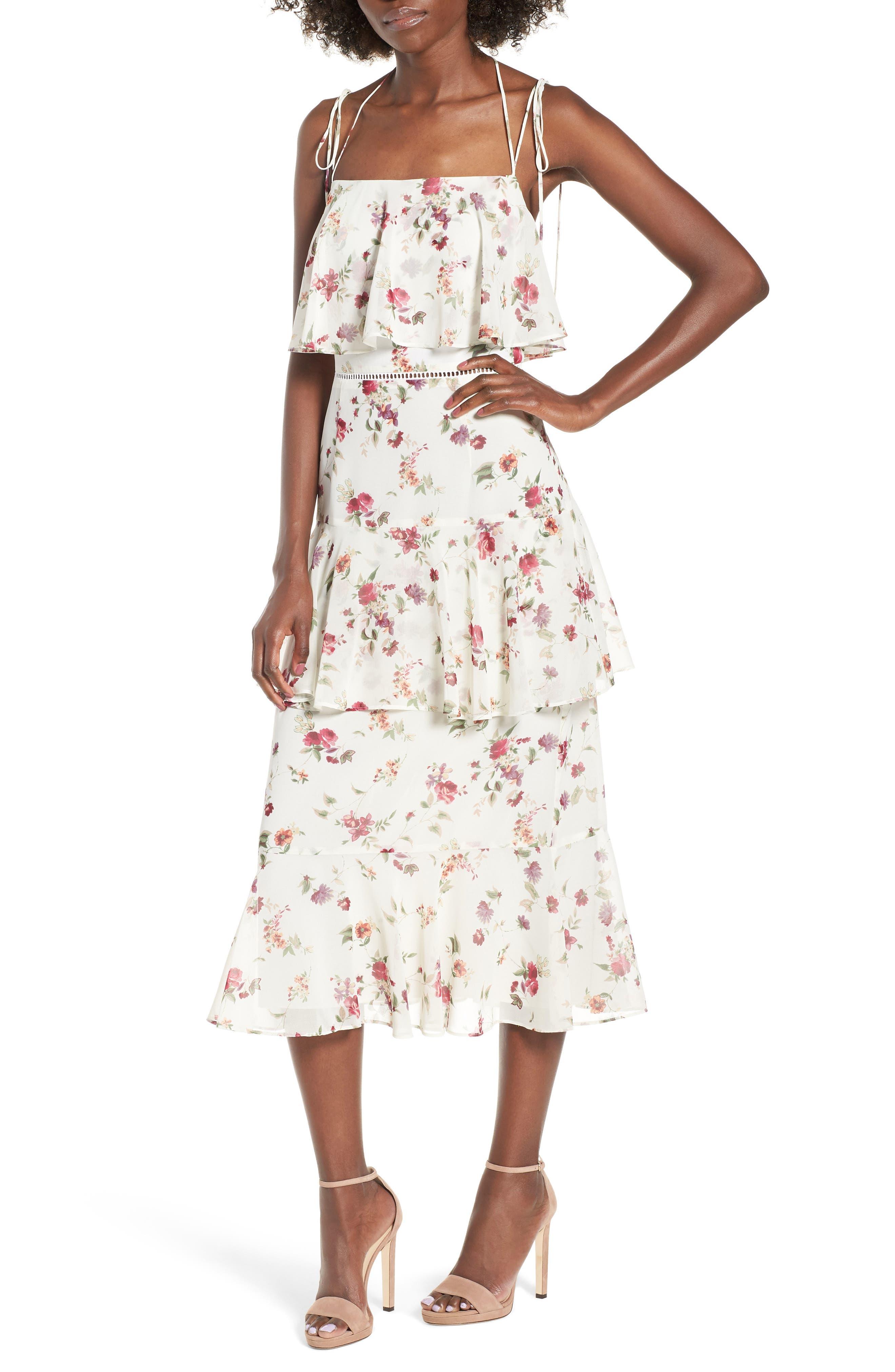 Imola Tiered Midi Dress,                             Main thumbnail 1, color,                             Ivory Floral