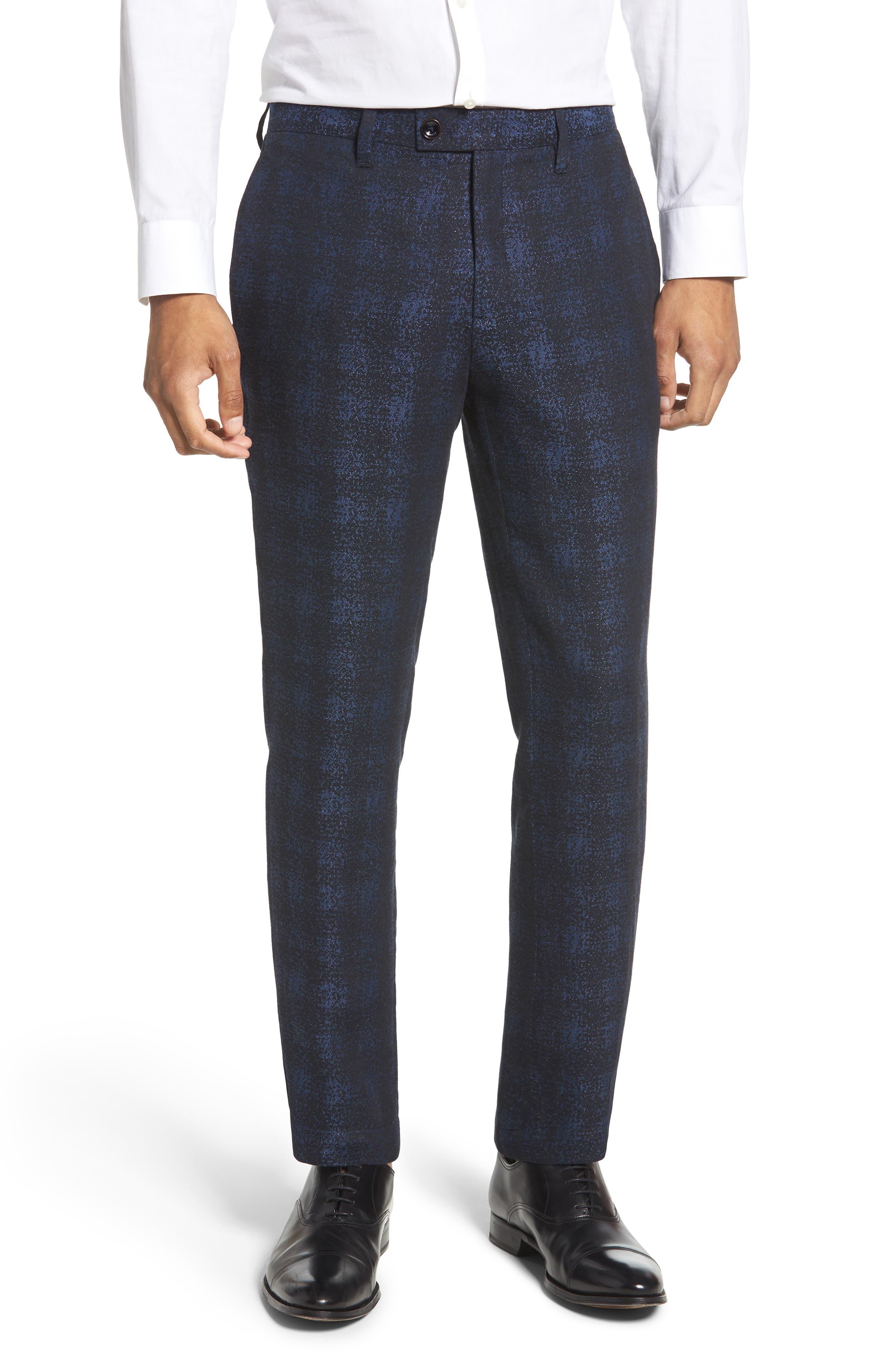 Ted Baker London Dortro Flat Front Plaid Cotton Blend Pants