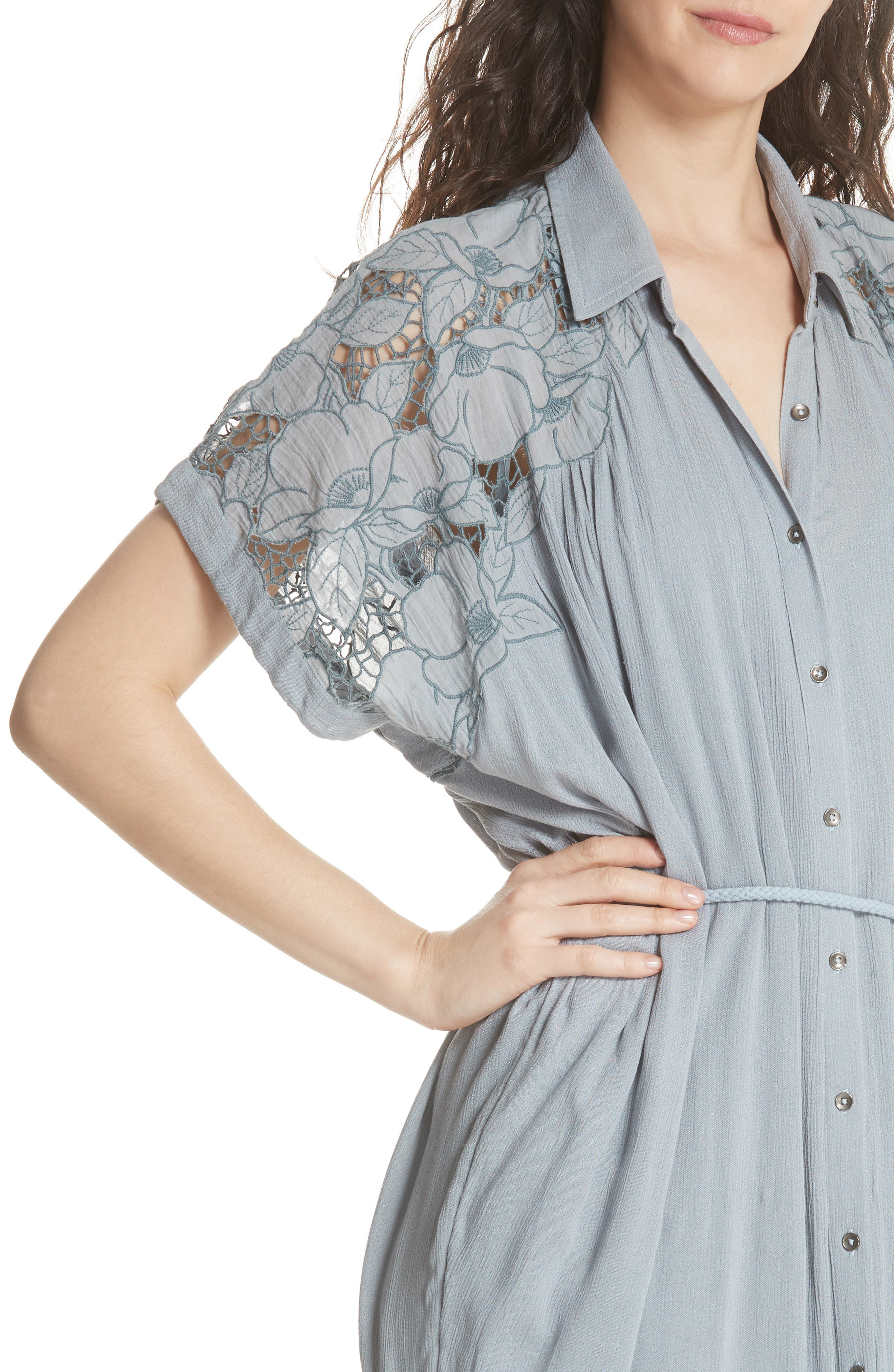 Cut It Out Midi Shirtdress,                             Alternate thumbnail 4, color,                             Blue