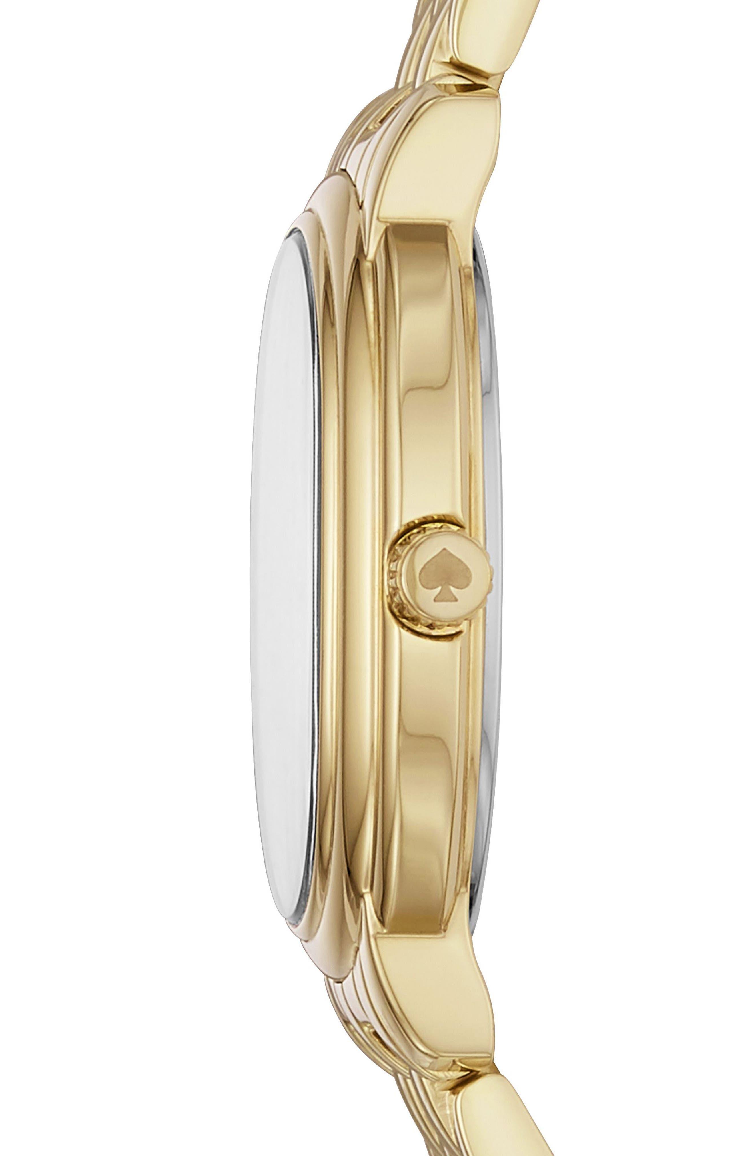 staten bracelet watch, 25mm,                             Alternate thumbnail 2, color,                             Gold/ White/ Gold