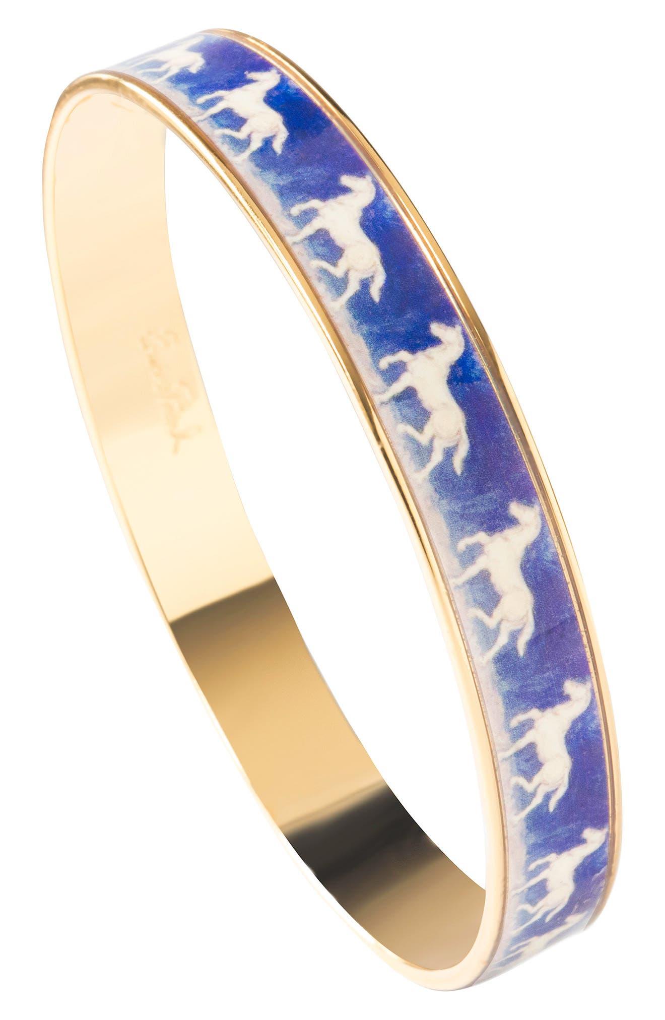 Blue Horse Medium Bracelet,                             Alternate thumbnail 2, color,                             Blue/ Gold