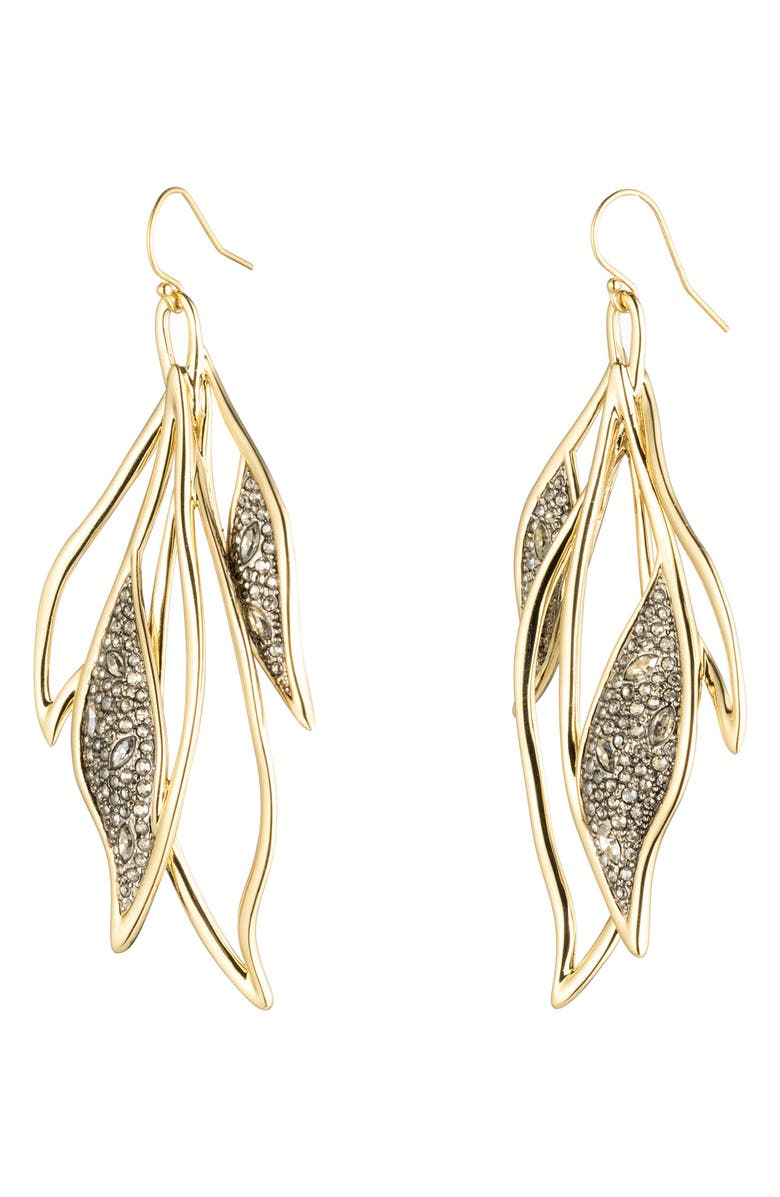 Alexis Bittar Crystal Encrusted Feather Wire Earrings In Gold/ Silver