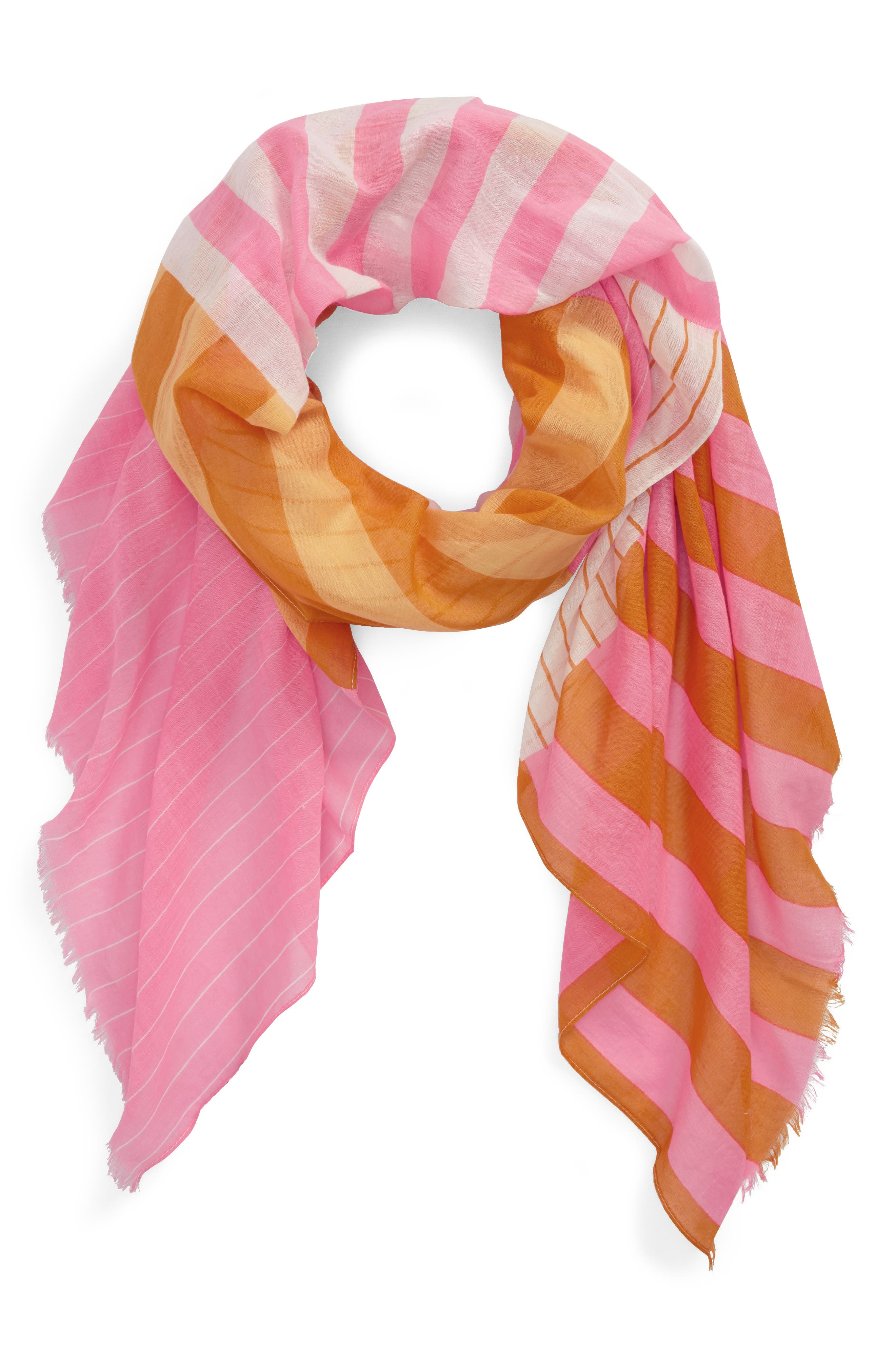 Fes Stripe Scarf,                             Main thumbnail 1, color,                             Gold/Pink/Cream