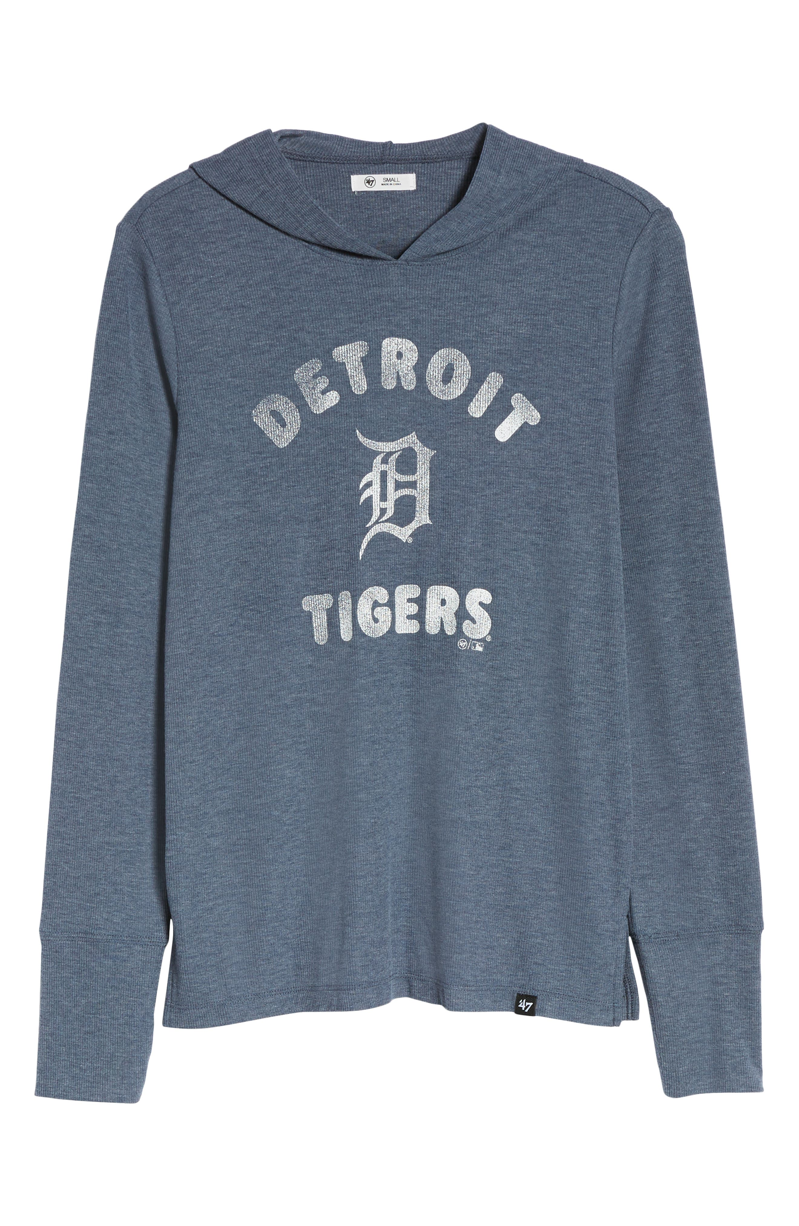 Campbell Detroit Tigers Rib Knit Hooded Top,                             Alternate thumbnail 7, color,                             Midnight