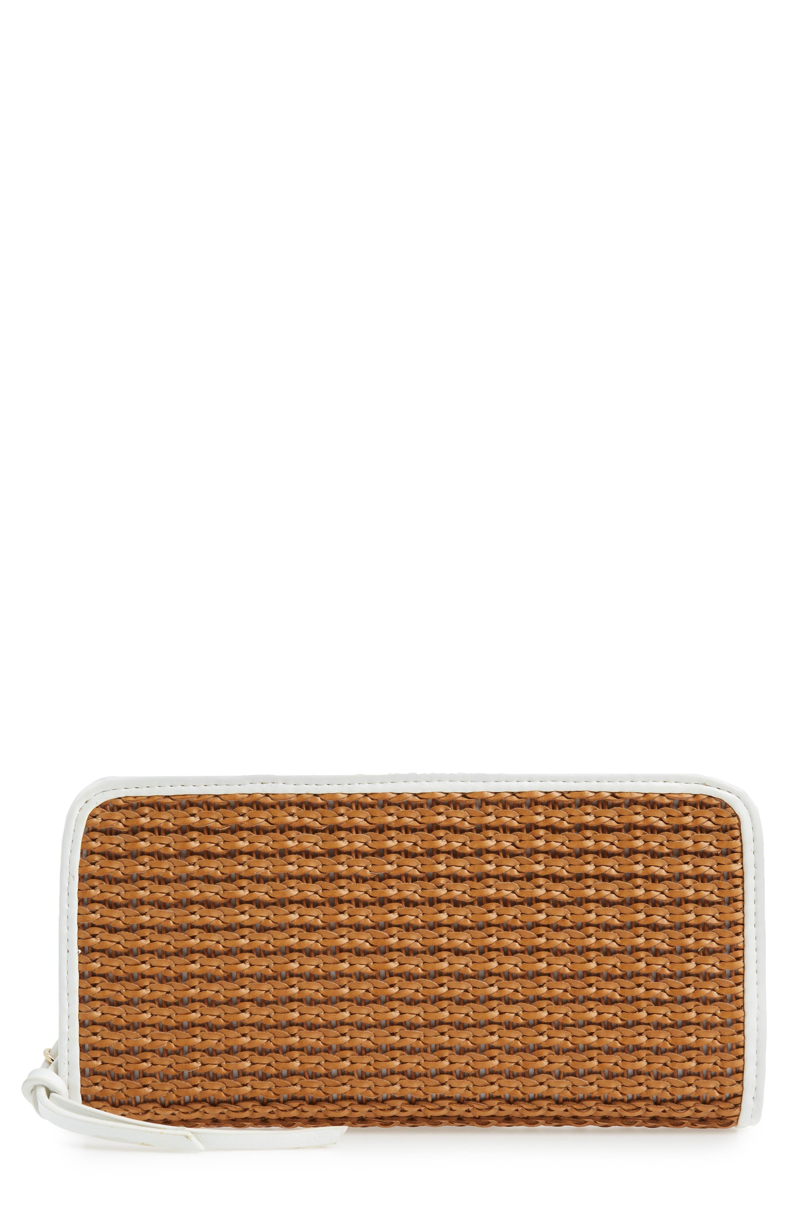 Mali + Lili Kyla Honor Basket Weave Wallet,                             Main thumbnail 1, color,                             Camel