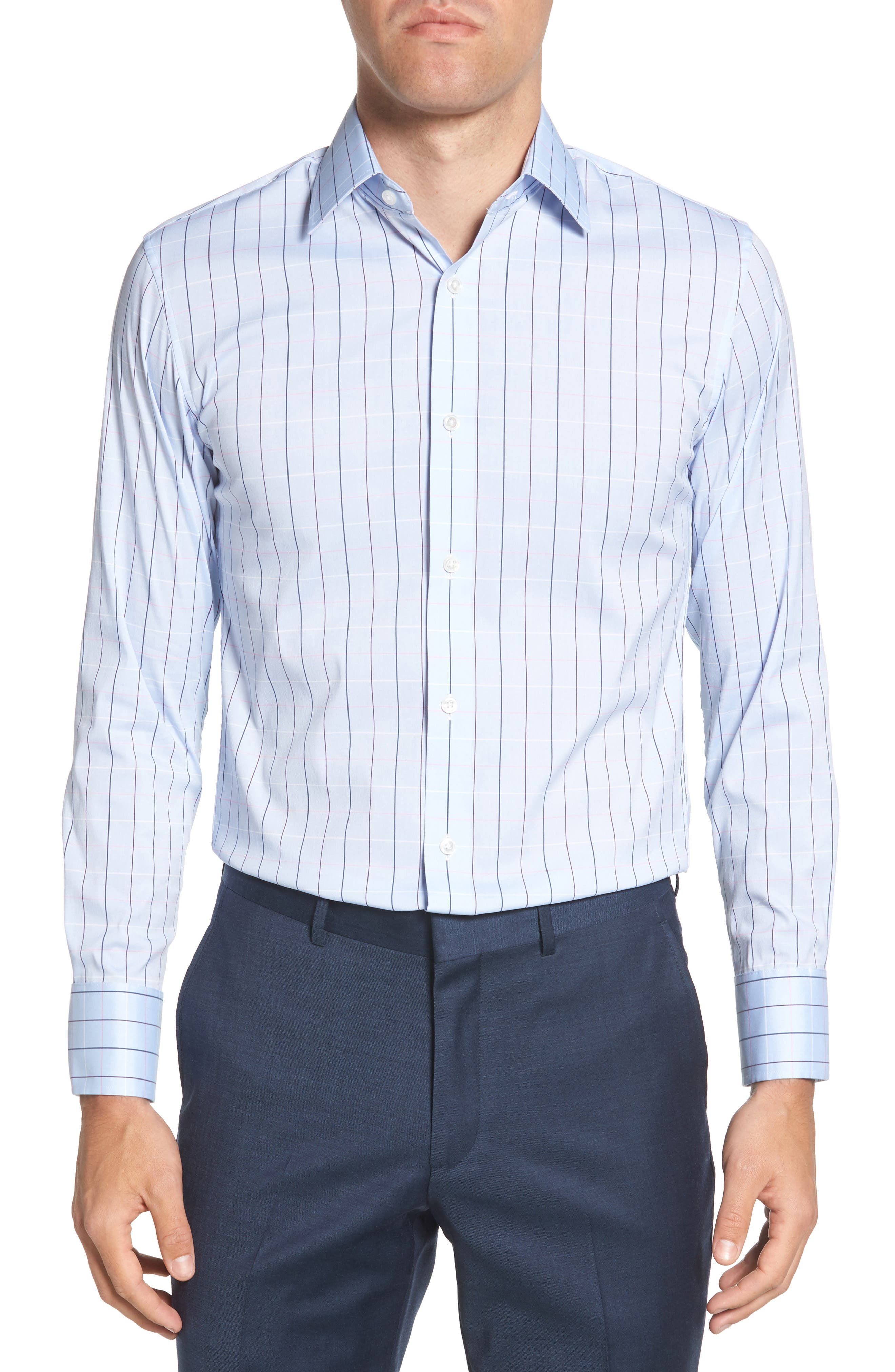 Jetsetter Slim Fit Stretch Check Dress Shirt,                         Main,                         color, Cannes Blue