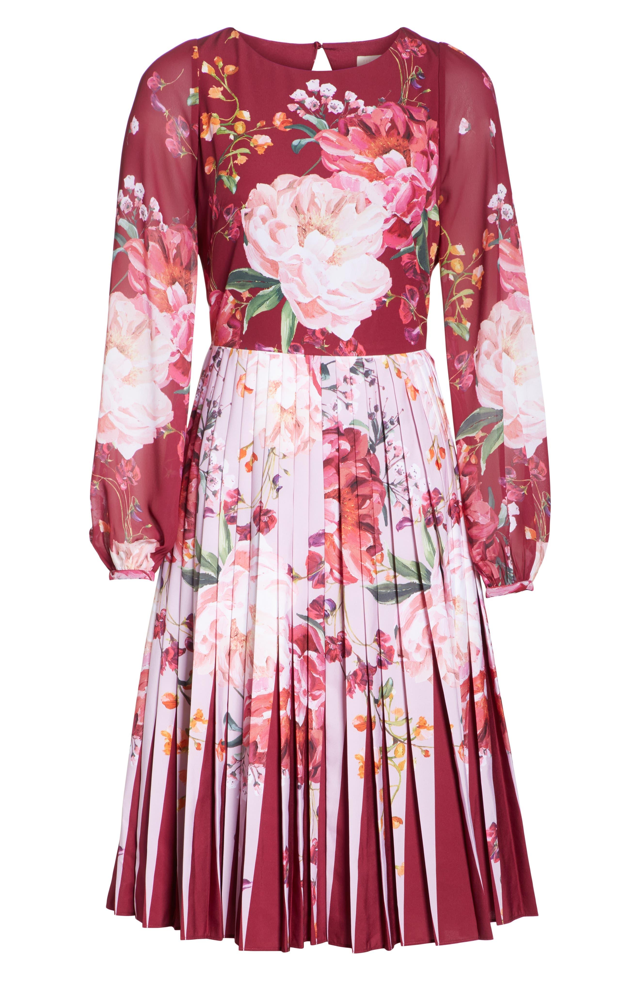 Esperan Serenity Contrast Pleated Skirt Dress,                             Alternate thumbnail 6, color,                             Maroon