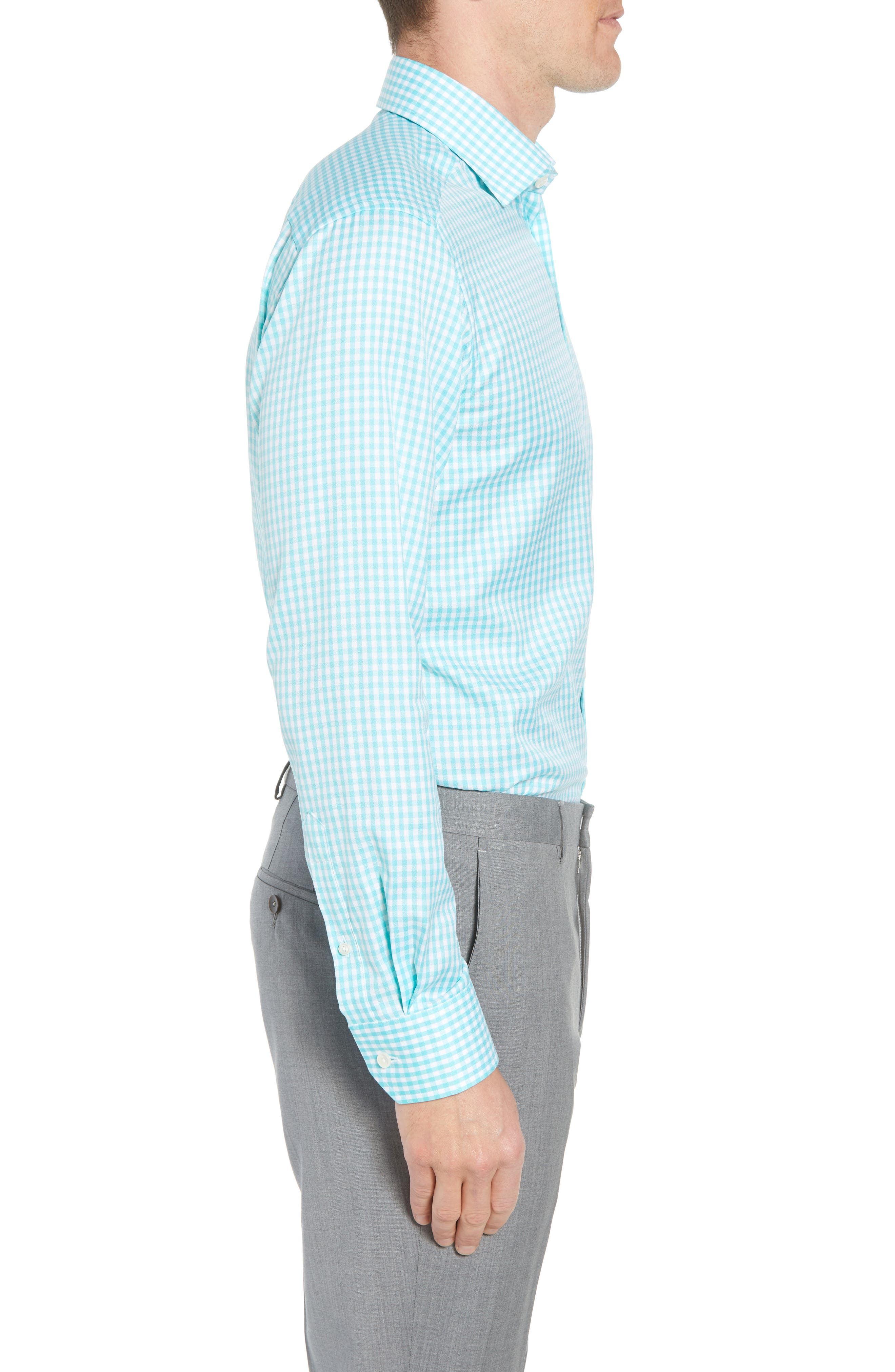 Contemporary Fit Check Dress Shirt,                             Alternate thumbnail 4, color,                             Teal