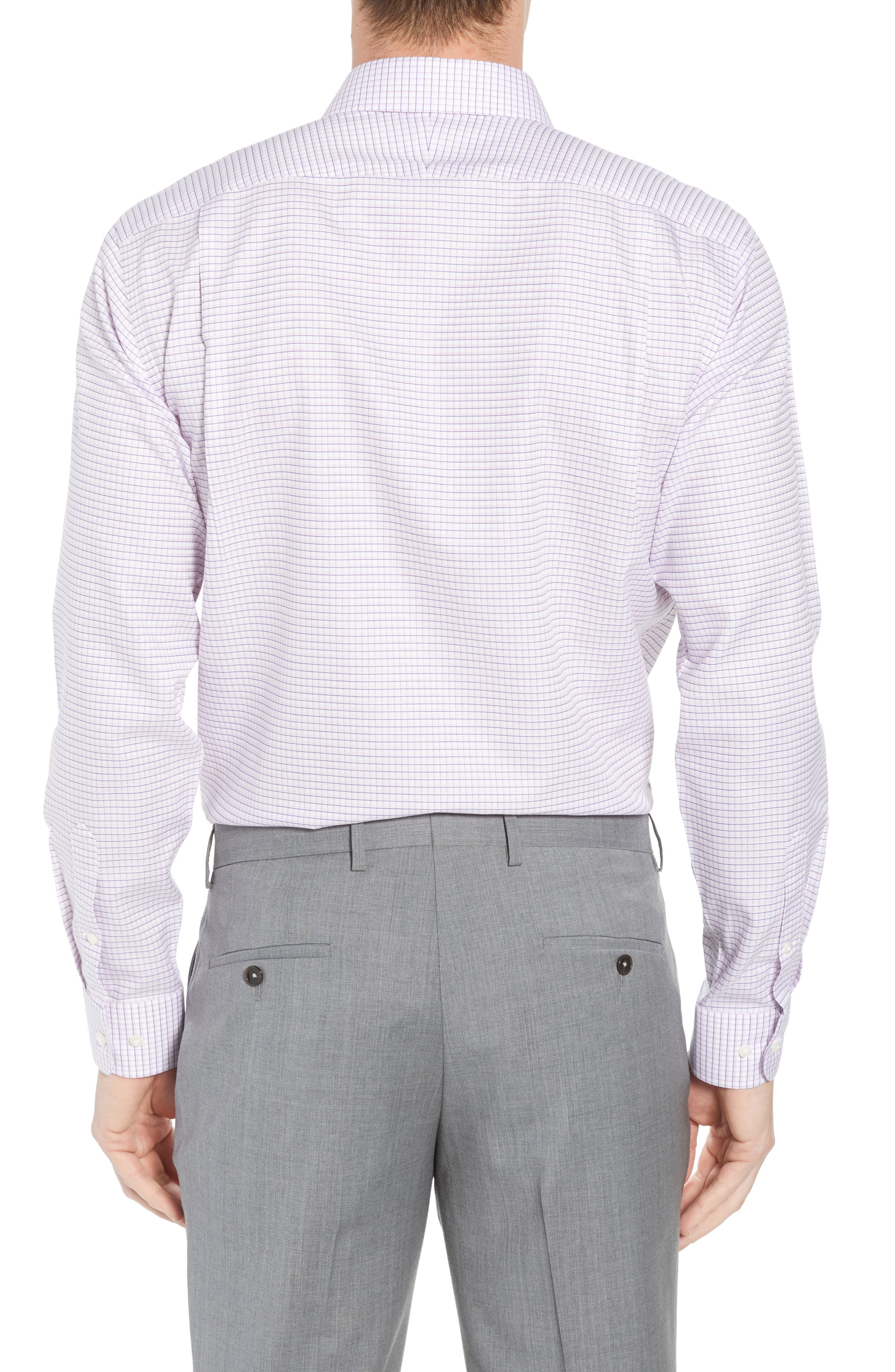 Smartcare<sup>™</sup> Trim Fit Check Sport Shirt,                             Alternate thumbnail 3, color,                             Pink Sweet