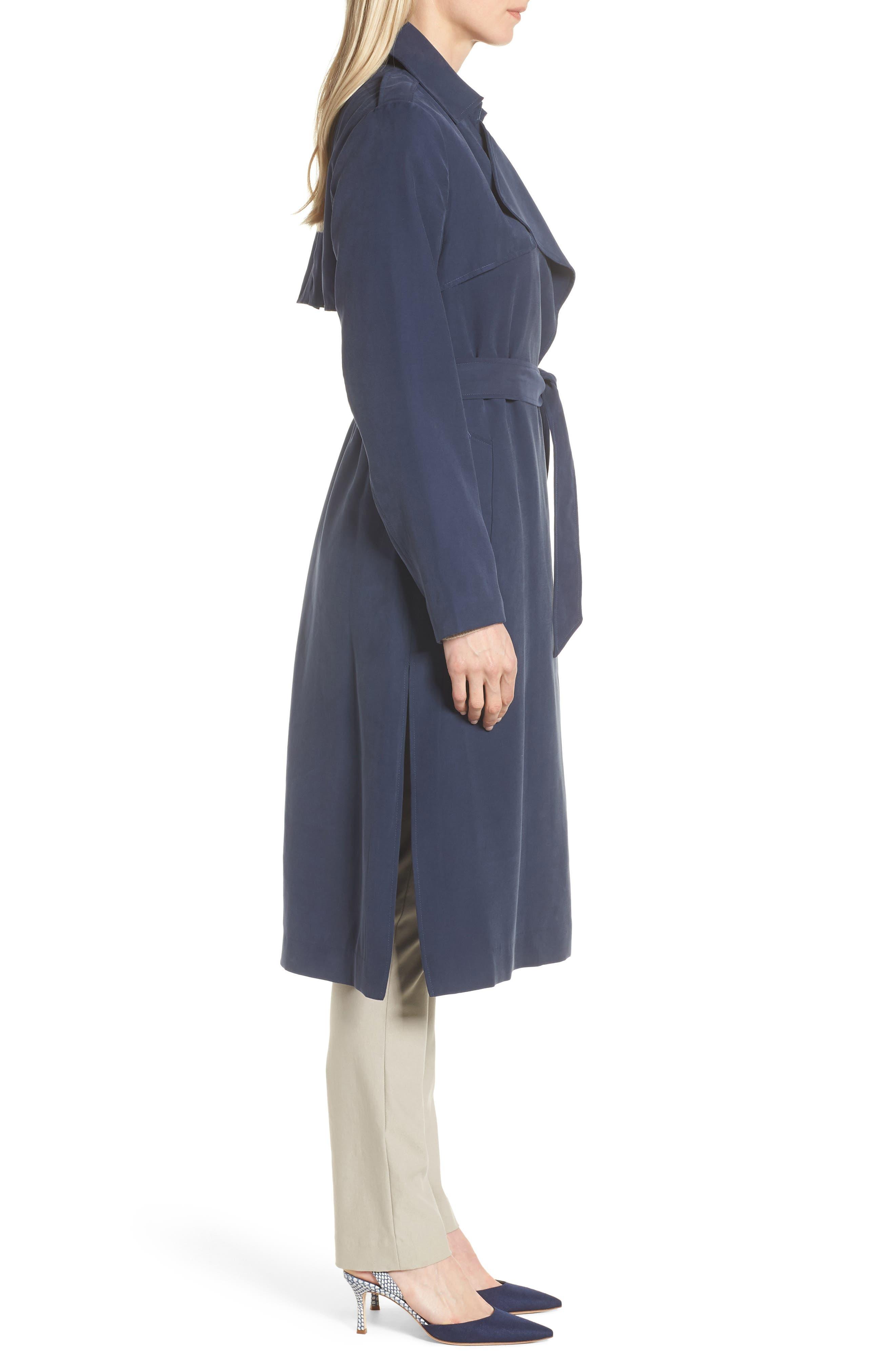 Long Drapey Trench Coat,                             Alternate thumbnail 3, color,                             Navy