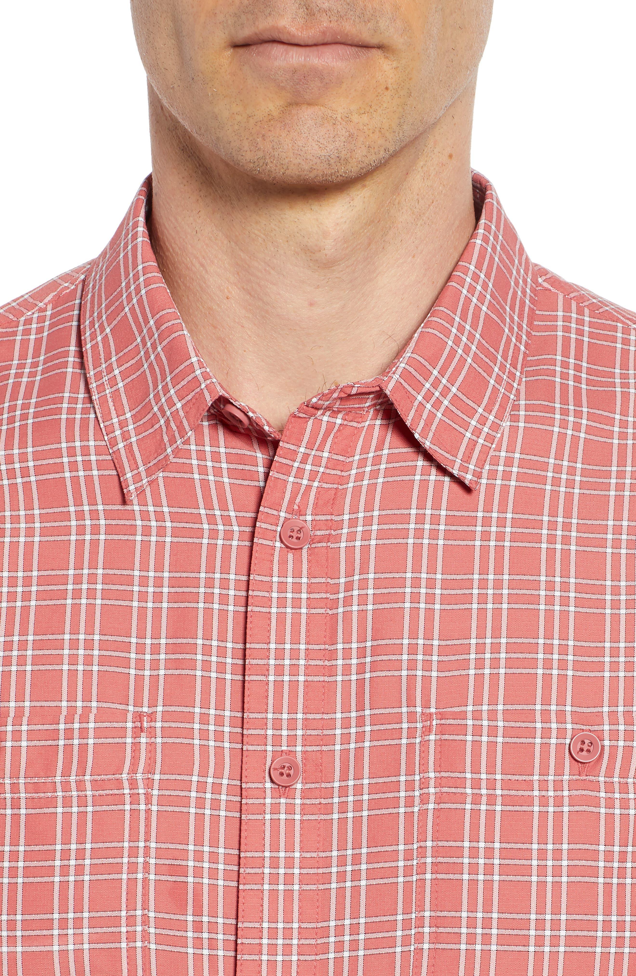 Wake Plaid Regular Fit Performance Sport Shirt,                             Alternate thumbnail 2, color,                             Mineral Red