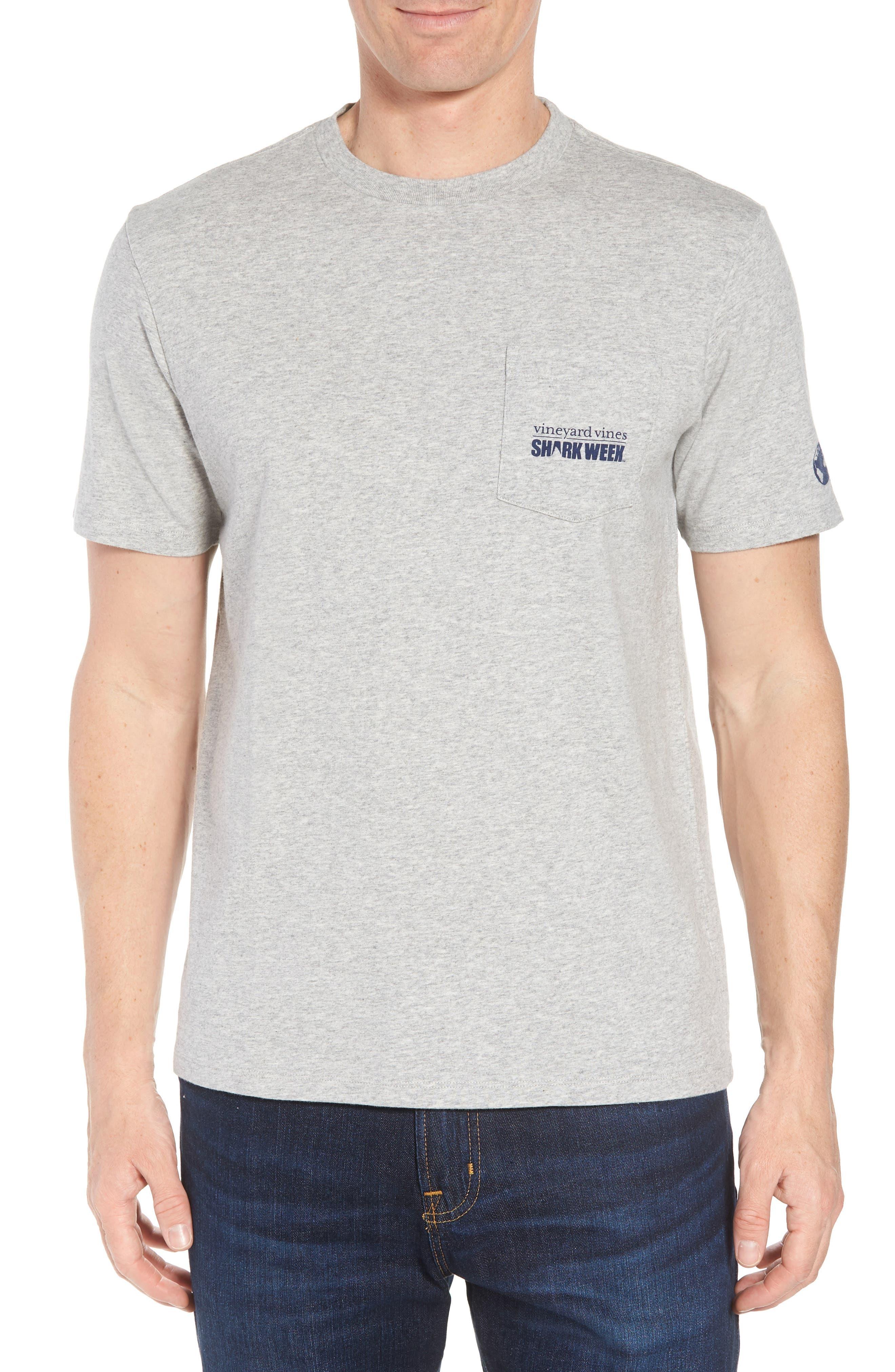 x Shark Week<sup>™</sup> Sharks & Stripes Pocket T-Shirt,                             Main thumbnail 1, color,                             Grey Heather