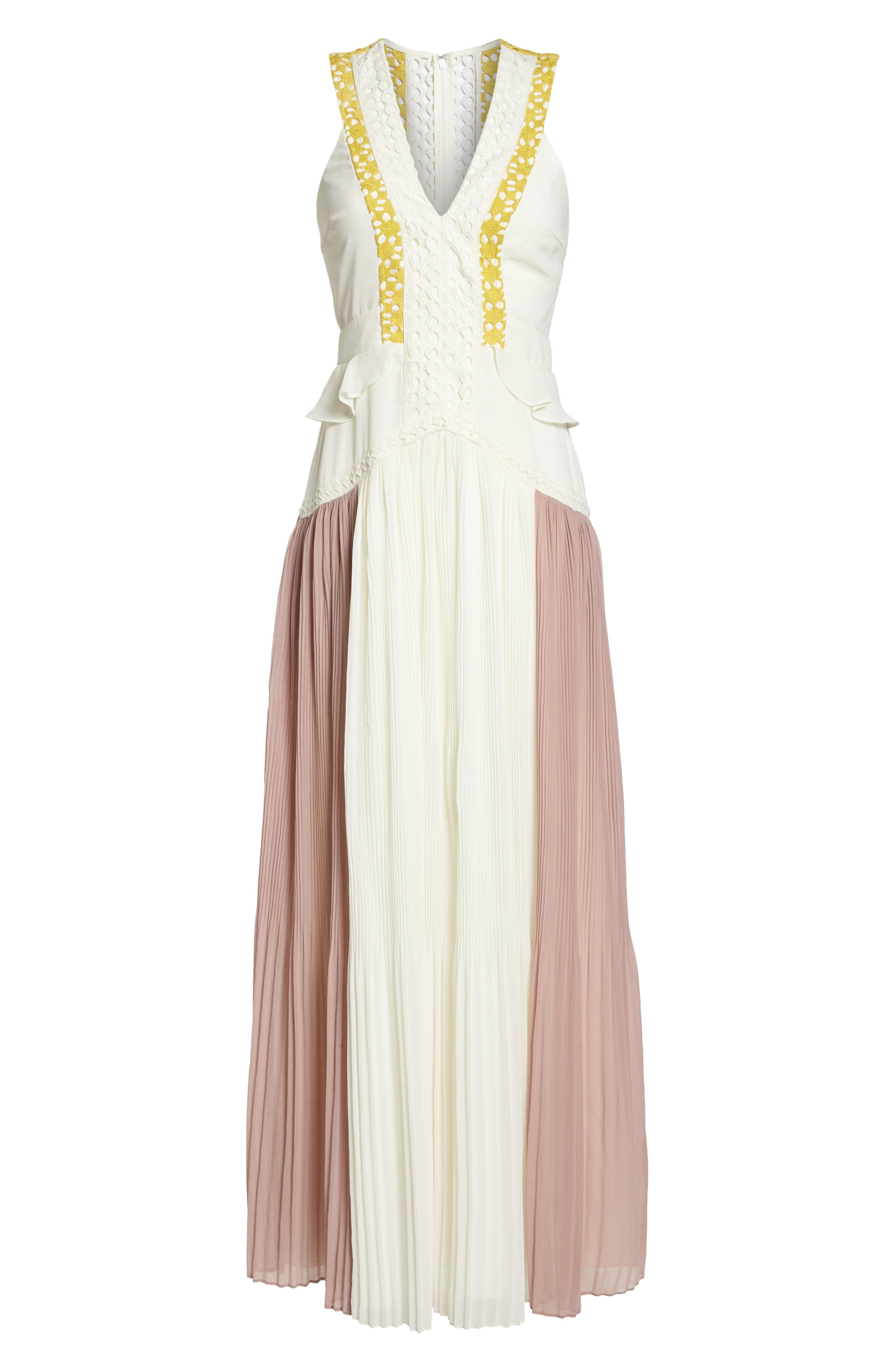 Colorblock Pleated Gown,                             Alternate thumbnail 7, color,                             Off White/ Pink