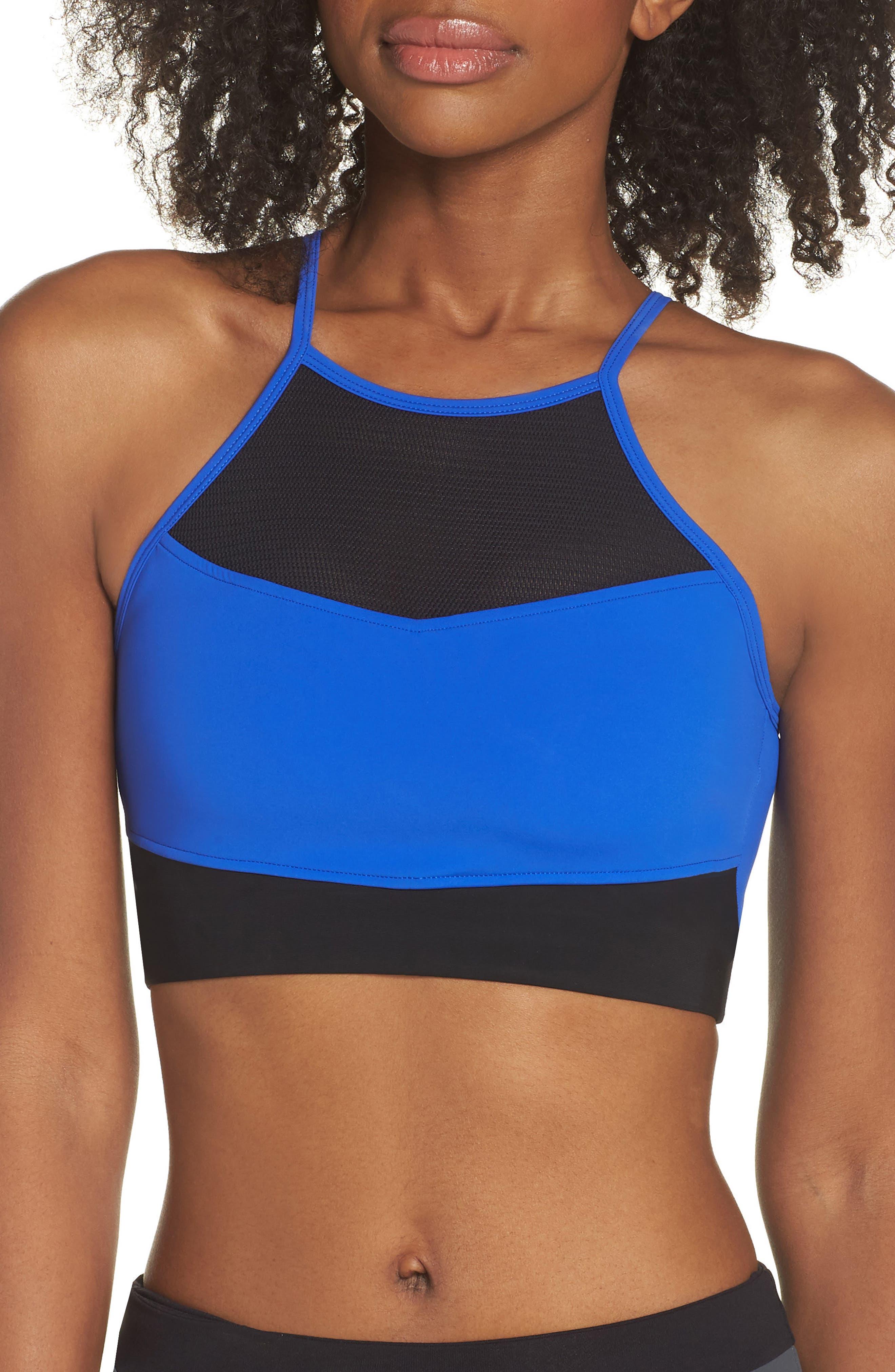 BoomBoom Athletica Cutaway Halter Bra,                             Main thumbnail 1, color,                             Electric Blue/ Black