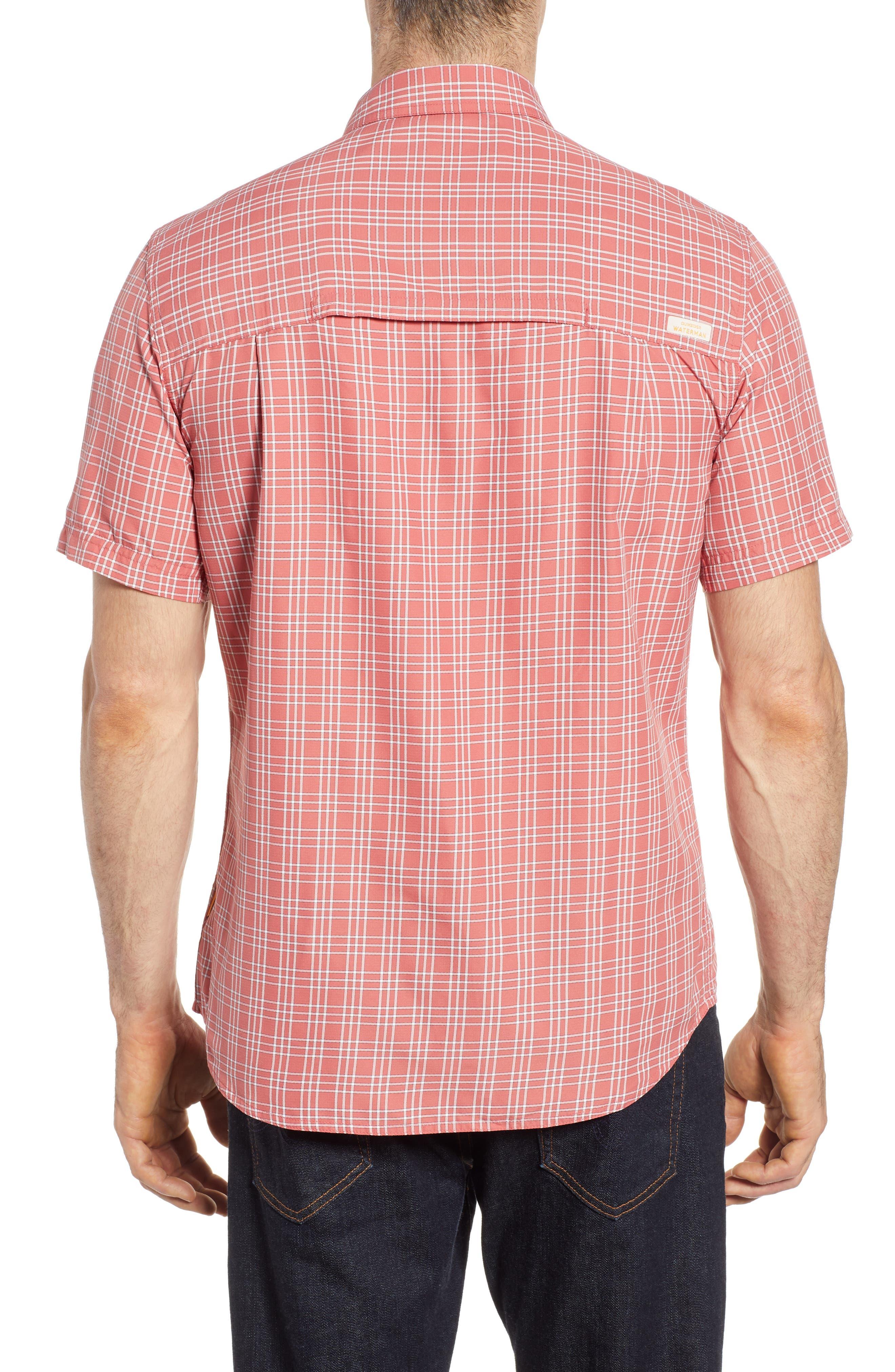 Wake Plaid Regular Fit Performance Sport Shirt,                             Alternate thumbnail 5, color,                             Mineral Red
