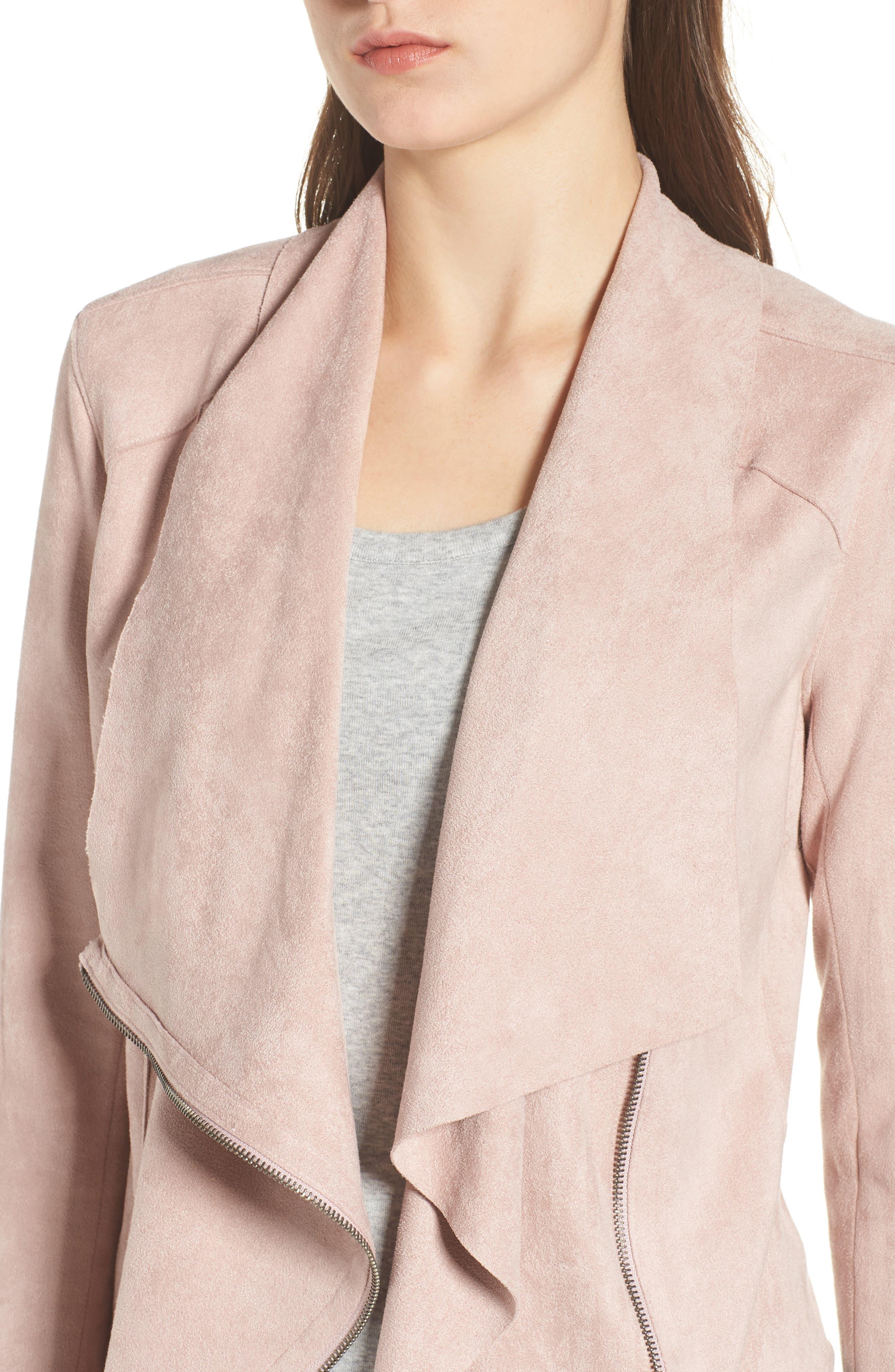 Drape Front Faux Suede Jacket,                             Alternate thumbnail 4, color,                             Pink Adobe