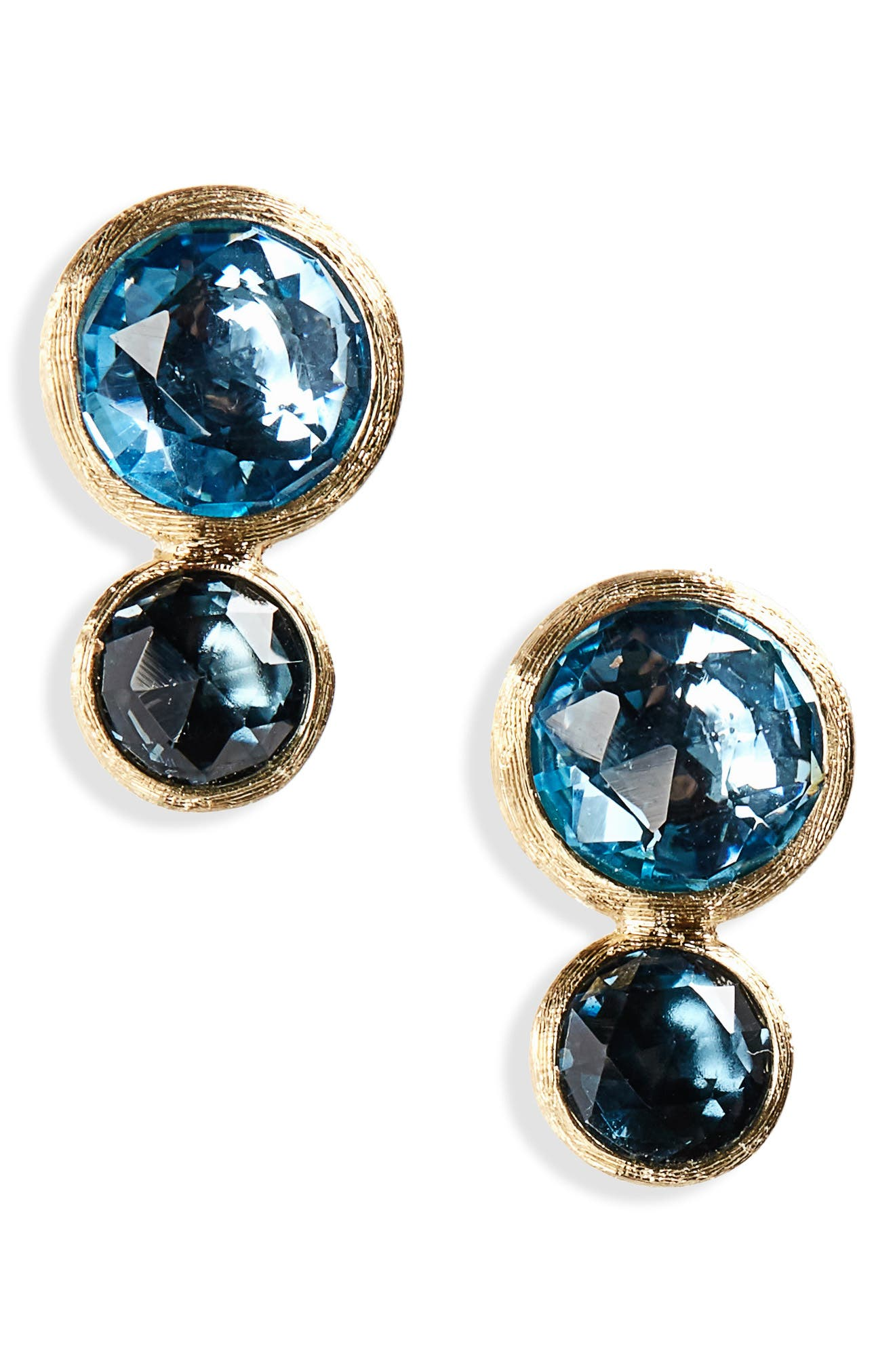 Jaipur 2-Stone Blue Topaz Stud Earrings,                             Main thumbnail 1, color,                             Yellow Gold London/ Swiss Blue