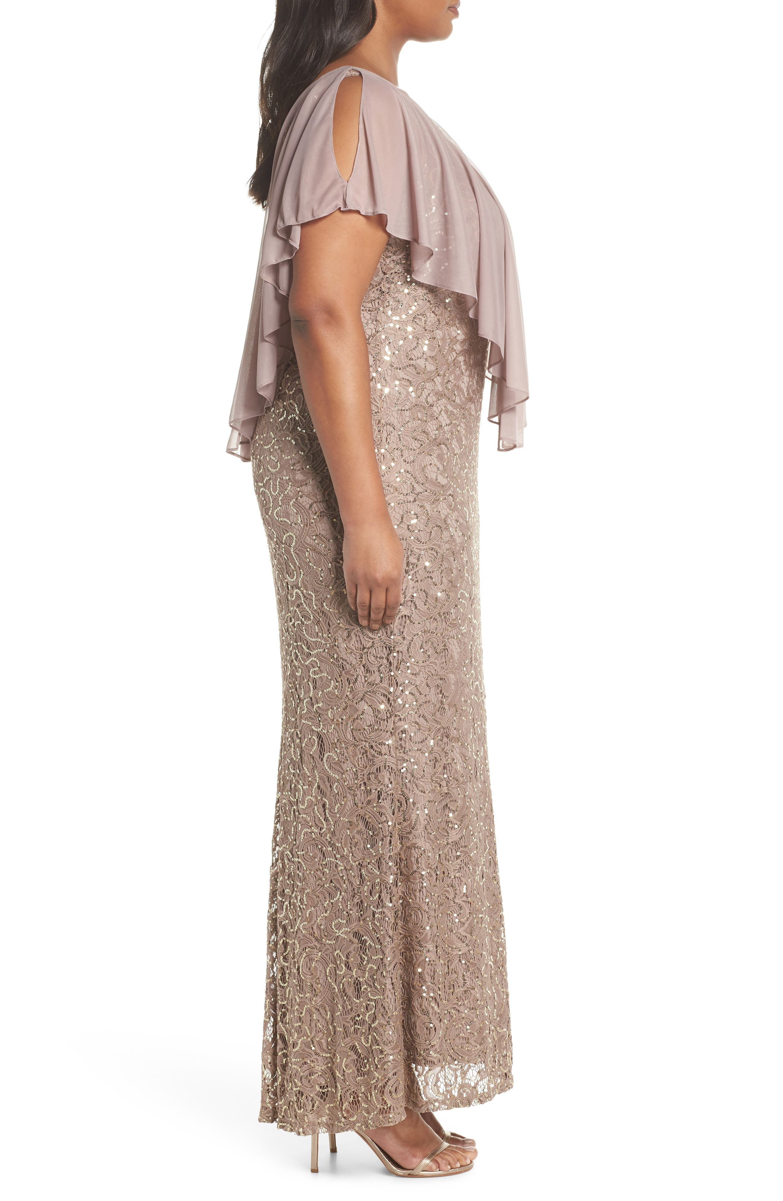 Capelet Sequin Lace A-Line Gown,                             Alternate thumbnail 3, color,                             Mocha
