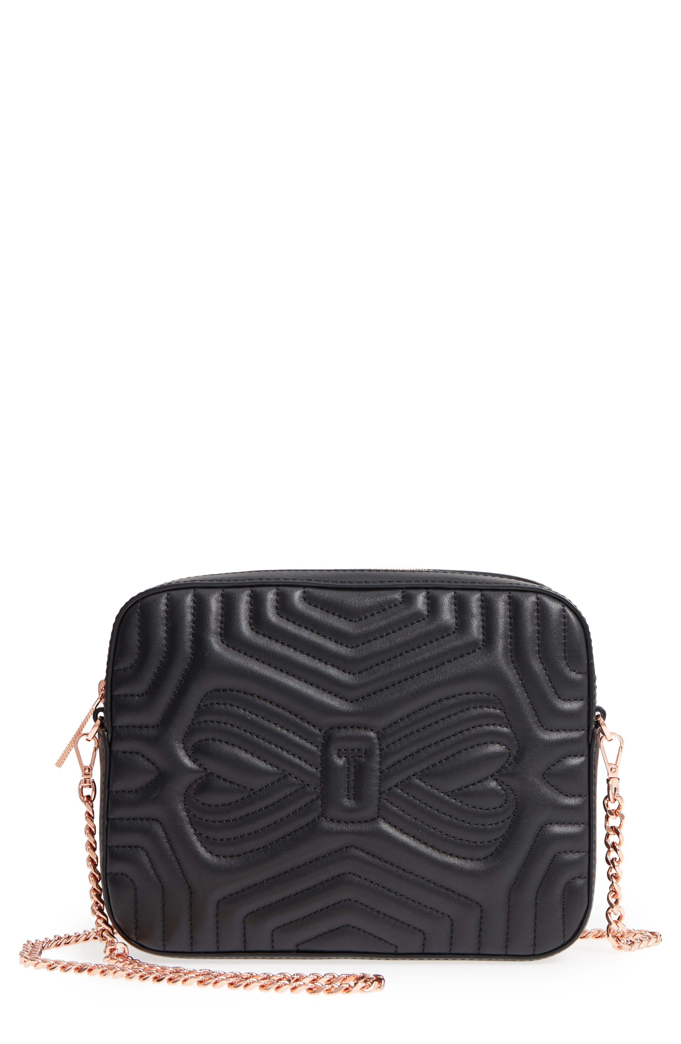 Quilted Leather Camera Bag,                             Main thumbnail 1, color,                             Black