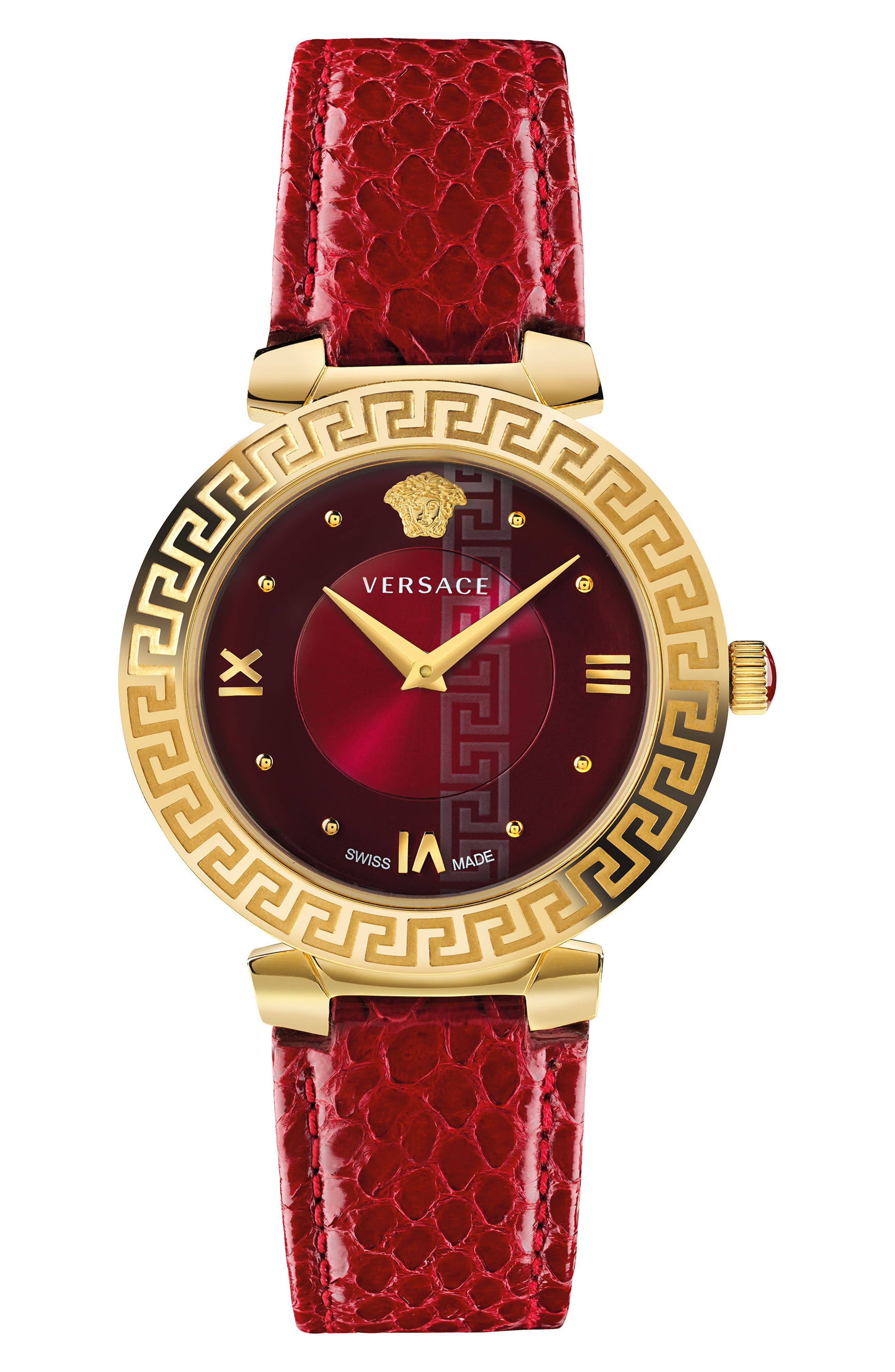 Daphnis Leather Strap Watch, 35mm,                         Main,                         color, Red/ Gold