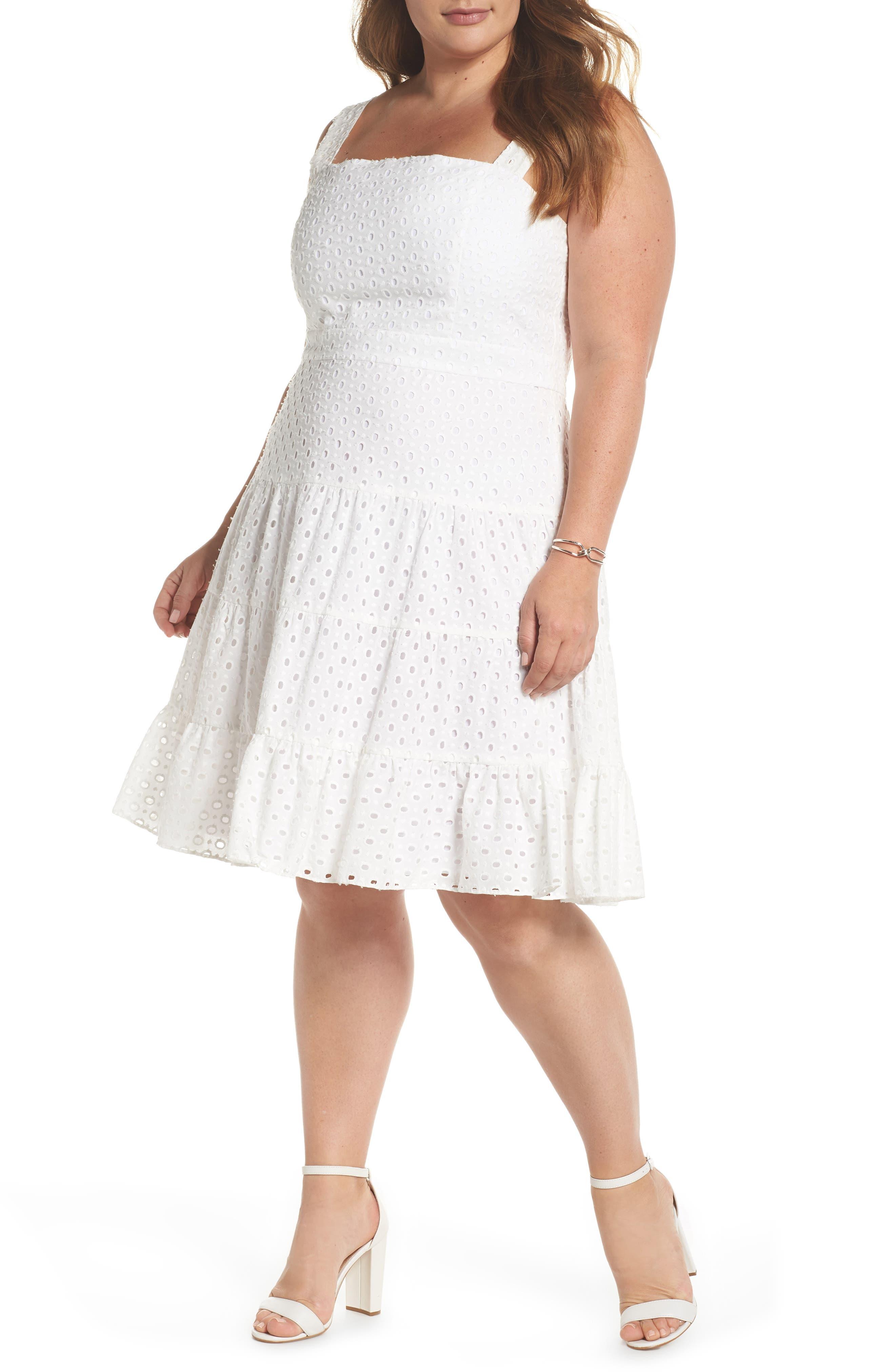 Eyelet Fit & Flare Dress,                             Main thumbnail 1, color,                             White