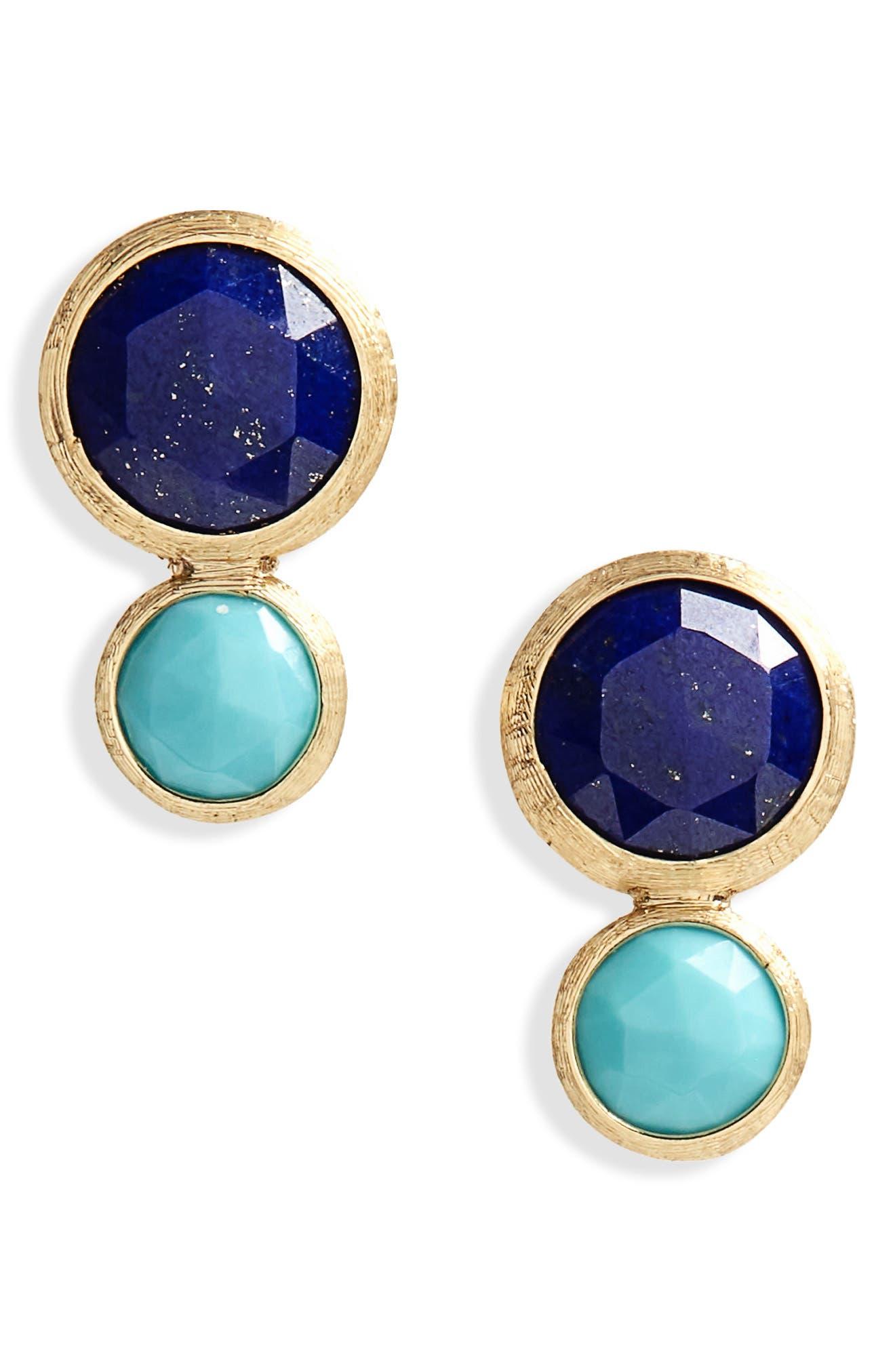 Jaipur Lapis & Turquoise Stud Earrings,                         Main,                         color, Yellow Gold Lapis/ Turquoise