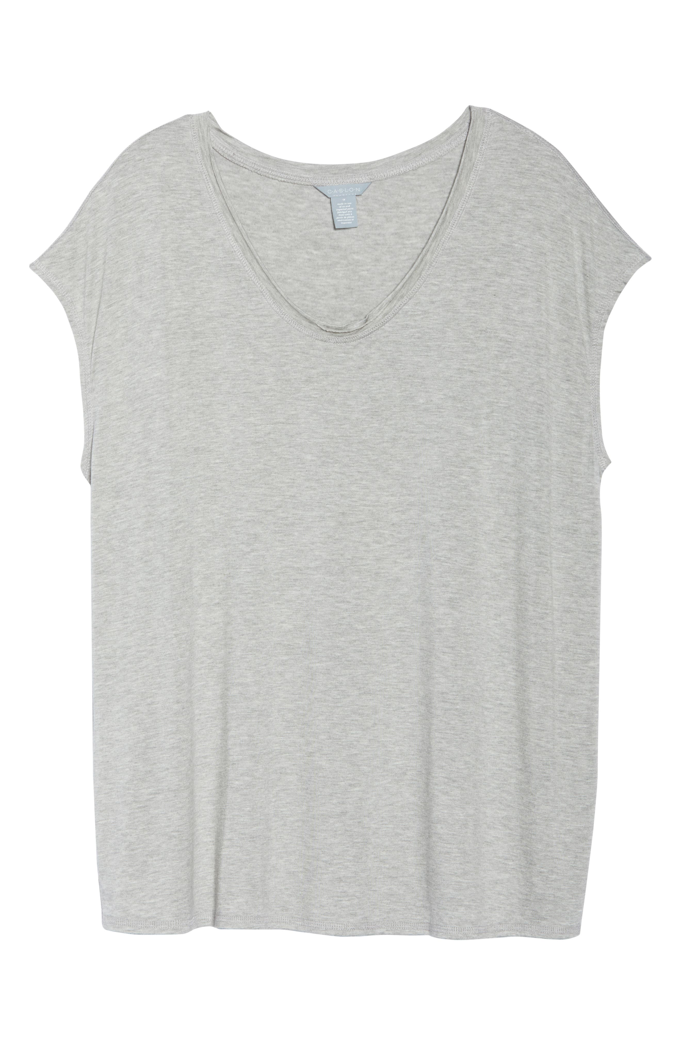 Off-Duty Stretch Knit Top,                             Alternate thumbnail 7, color,                             Grey Heather