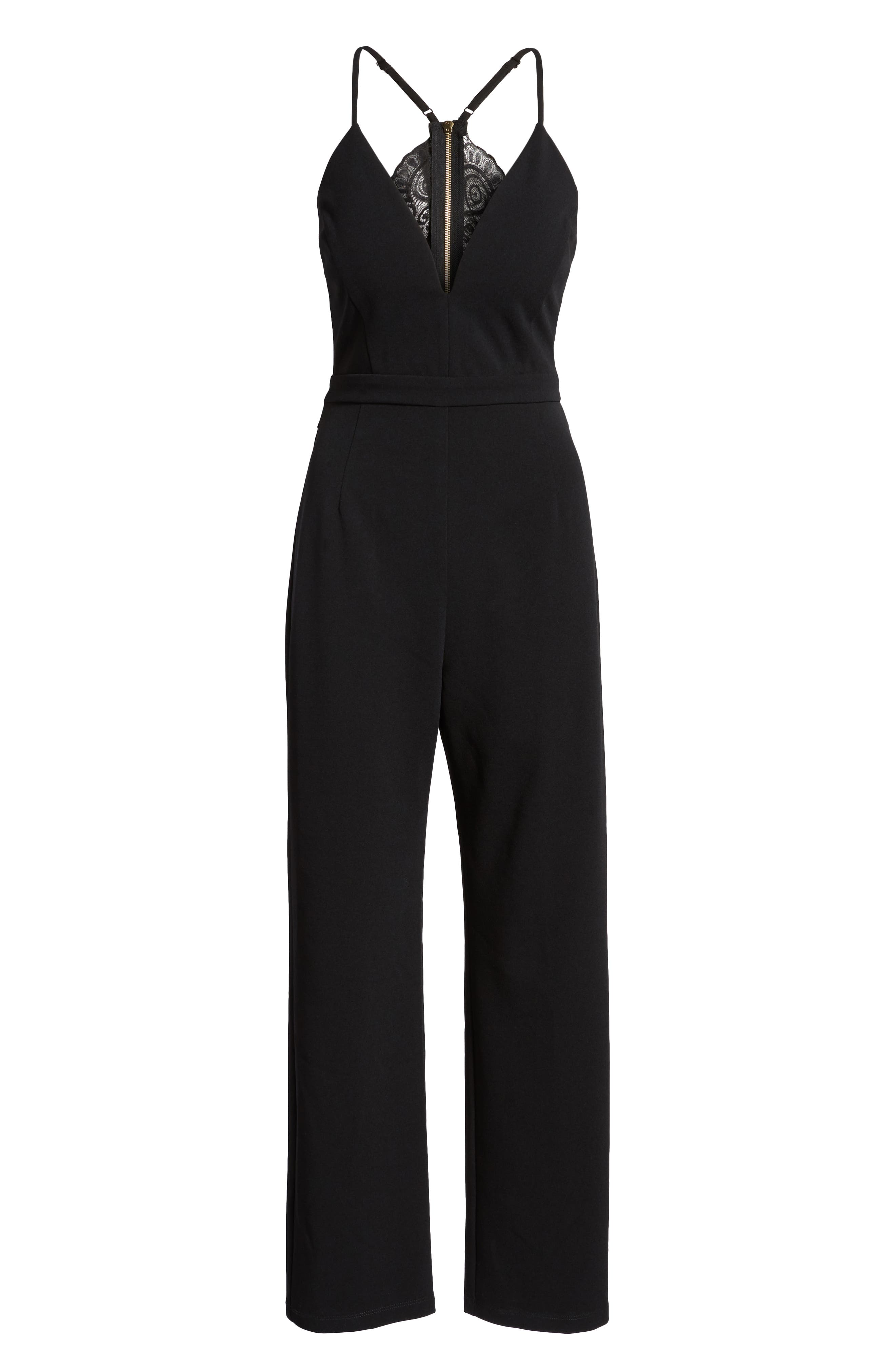 Love, Nicki Lew Lace Detail Jumpsuit,                             Alternate thumbnail 7, color,                             Black