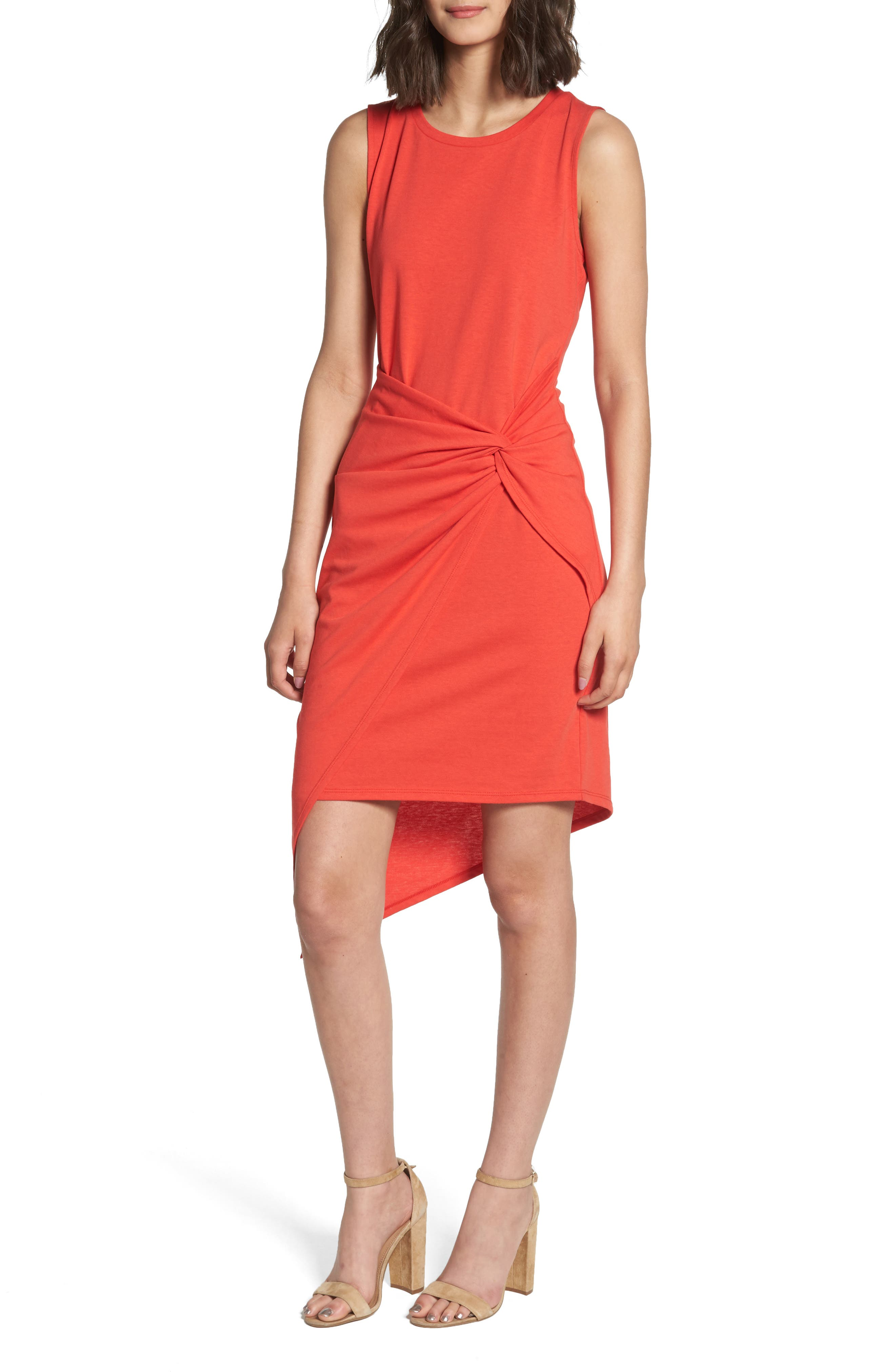 Twist Front Dress,                         Main,                         color, Red Poppy